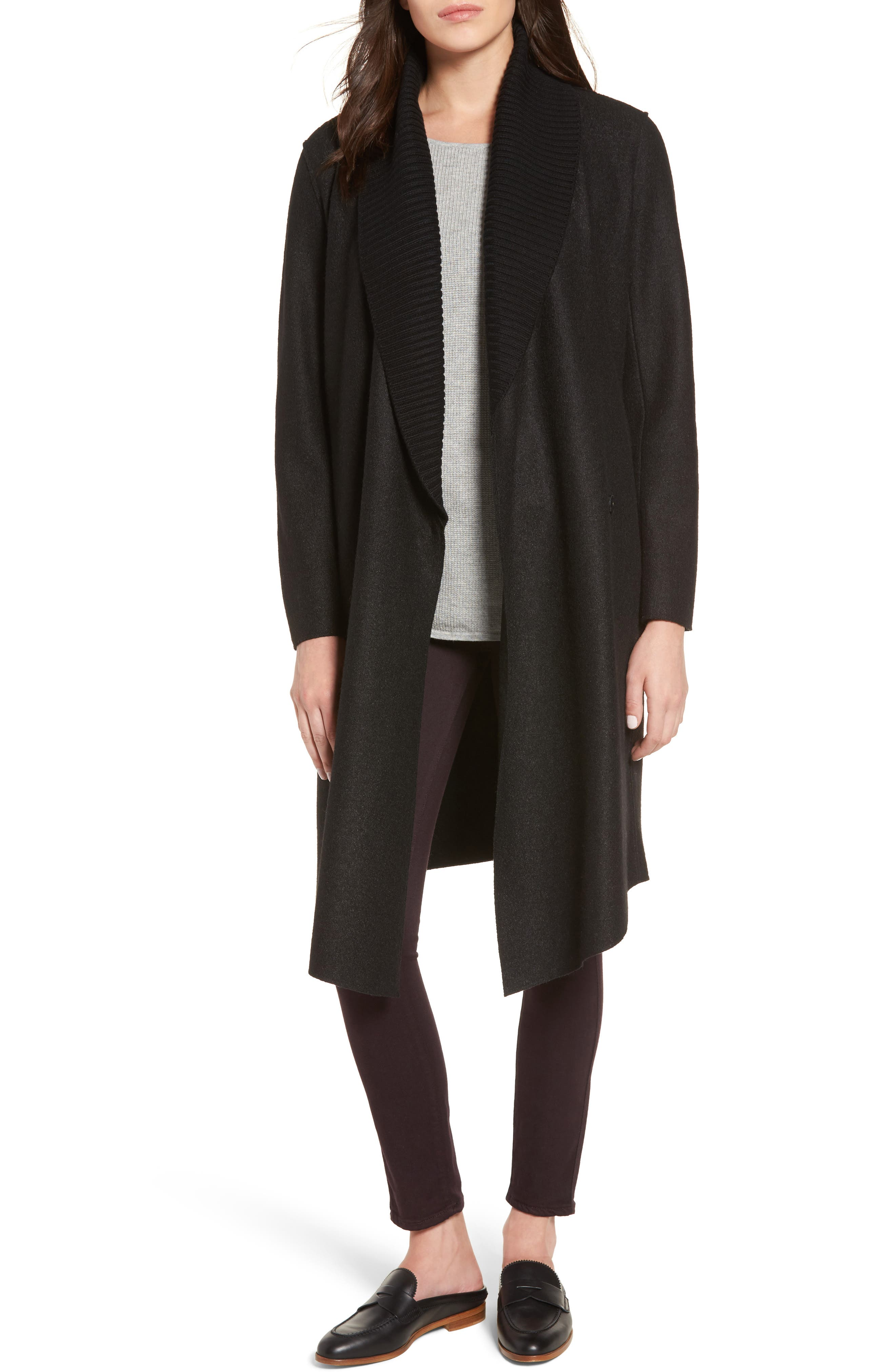 Emily Boiled Wool Blend Duster Coat,                         Main,                         color, 001