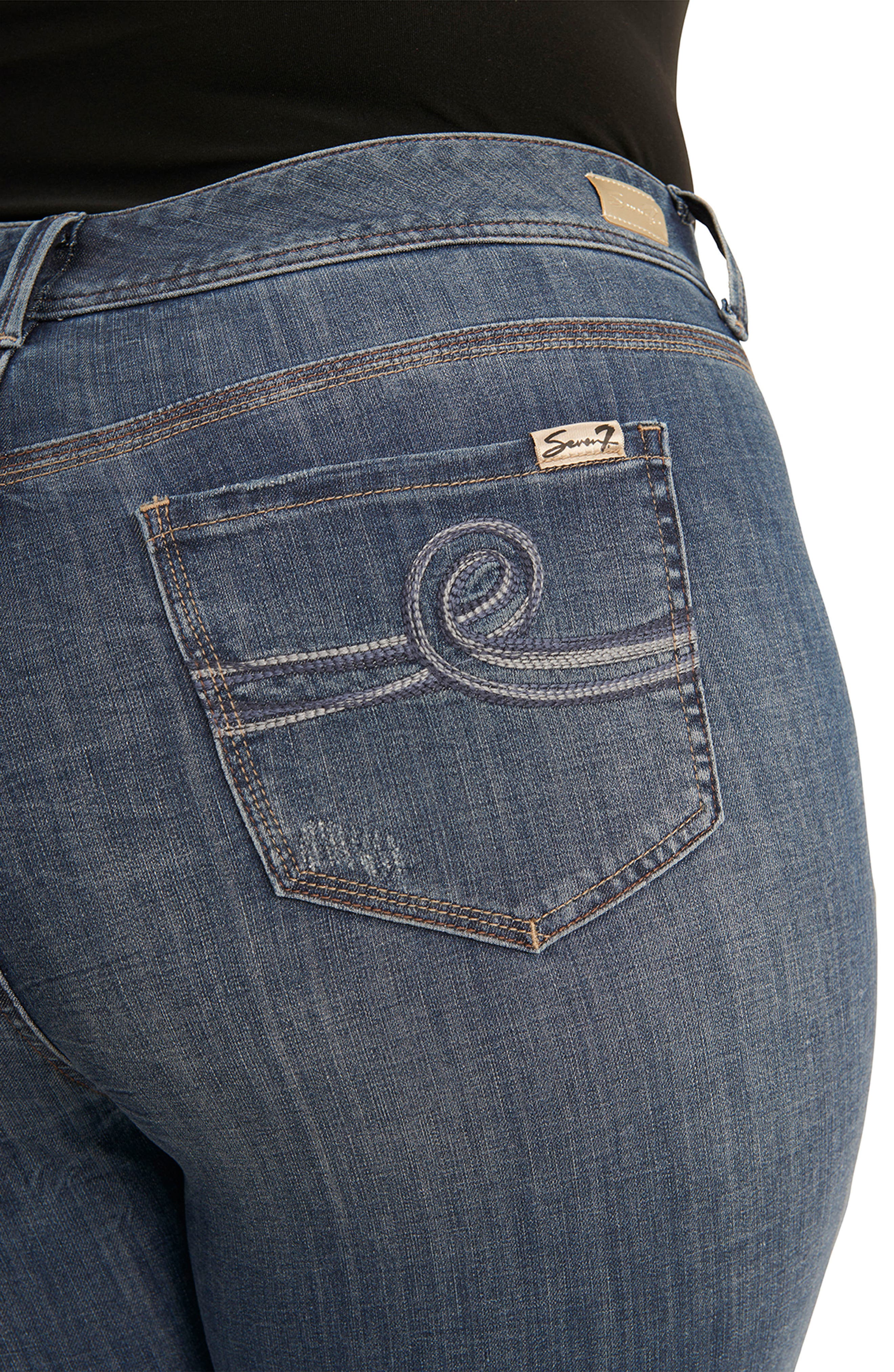 Tummyless Roll Cuff Slim Fit Jeans,                             Alternate thumbnail 4, color,                             JEANNE