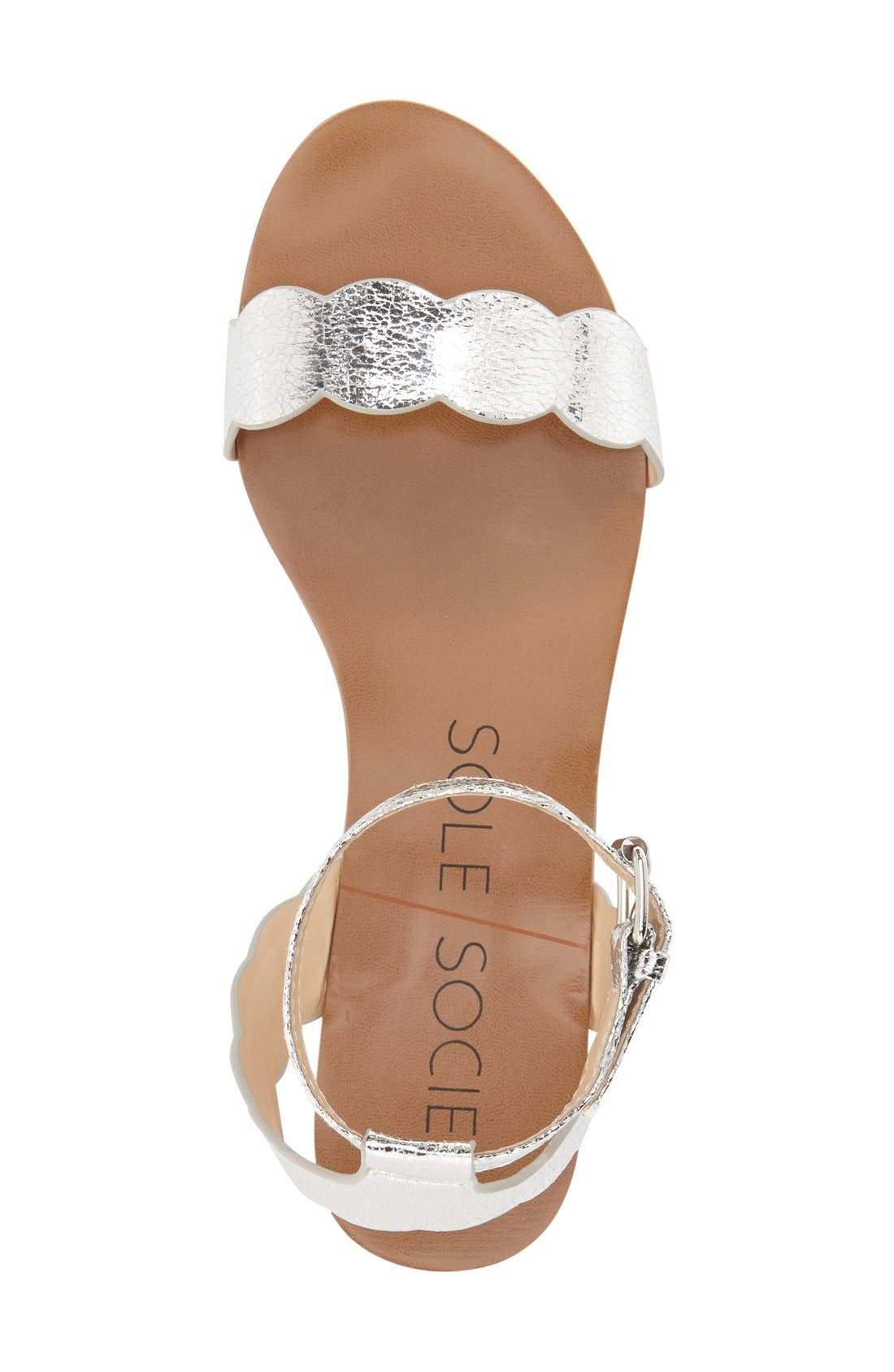 'Odette' Scalloped Ankle Strap Flat Sandal,                             Alternate thumbnail 18, color,