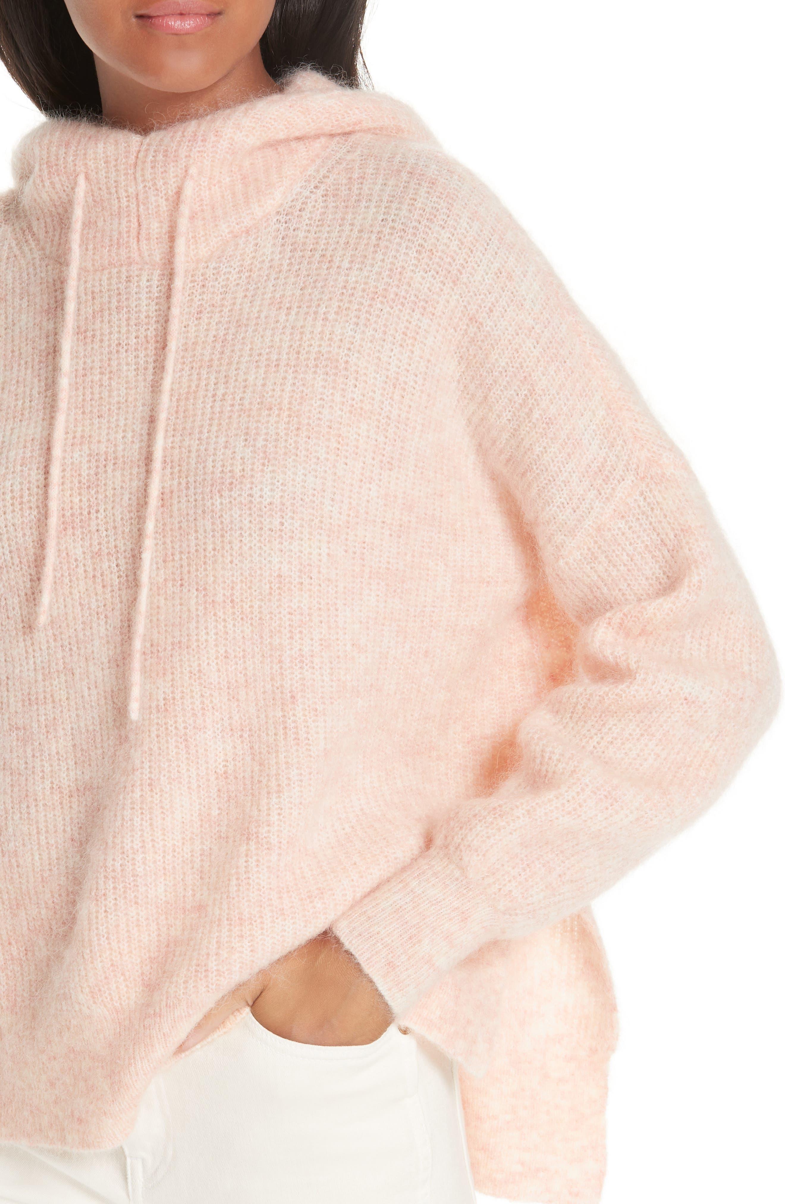 Soft Wool Blend Hoodie,                             Alternate thumbnail 4, color,                             SILVER PINK 499