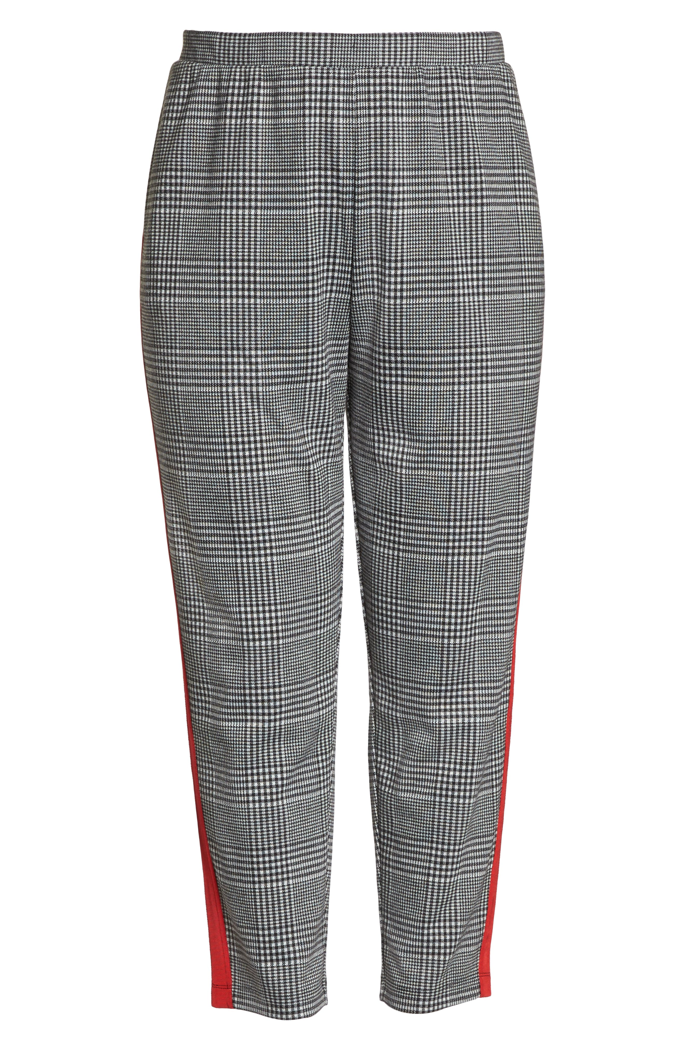 Side Stripe Glen Plaid Pants,                             Alternate thumbnail 6, color,                             BLACK GLEN CHECK