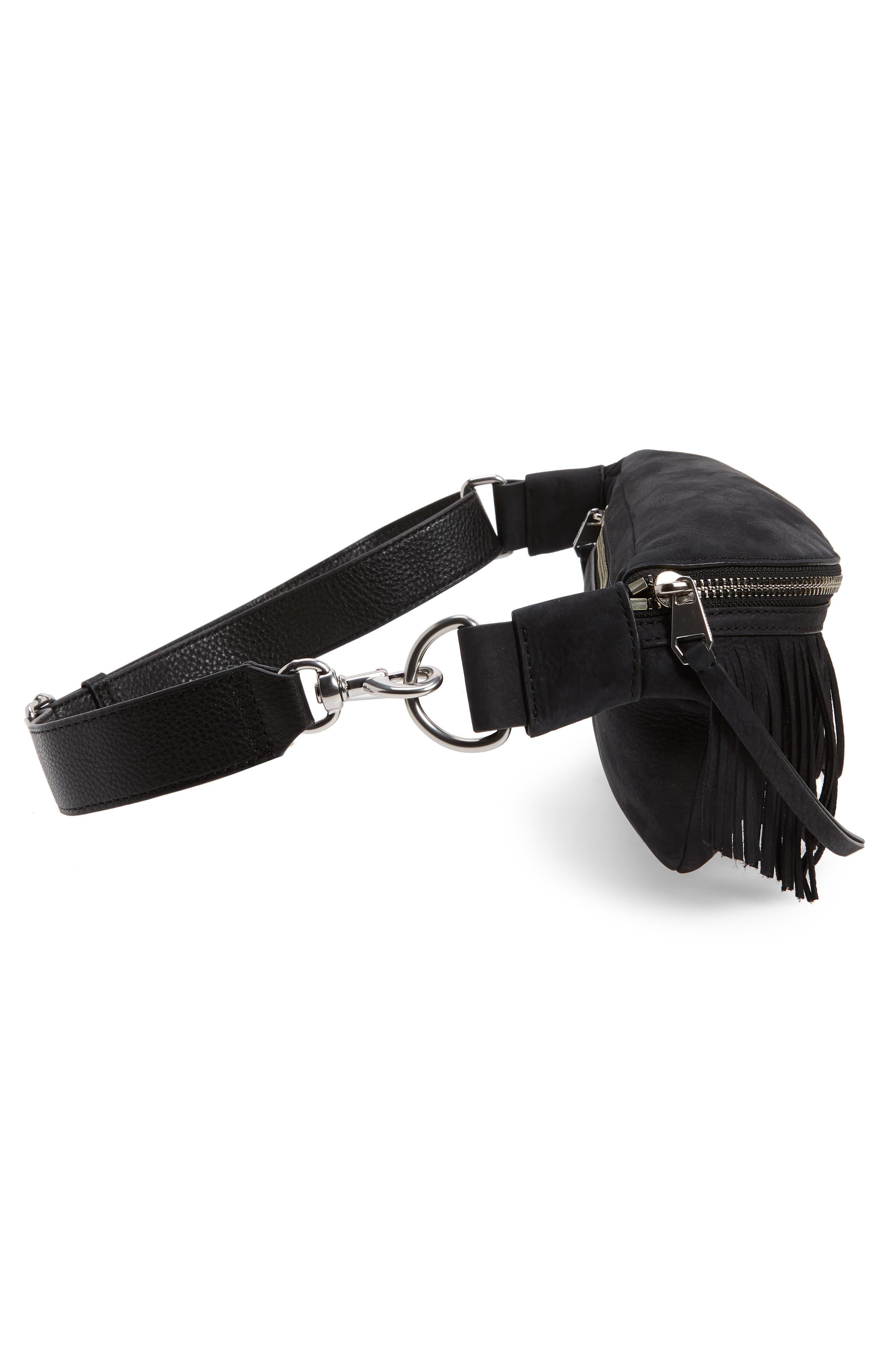 Bree Fringed Belt Bag,                             Alternate thumbnail 6, color,                             001