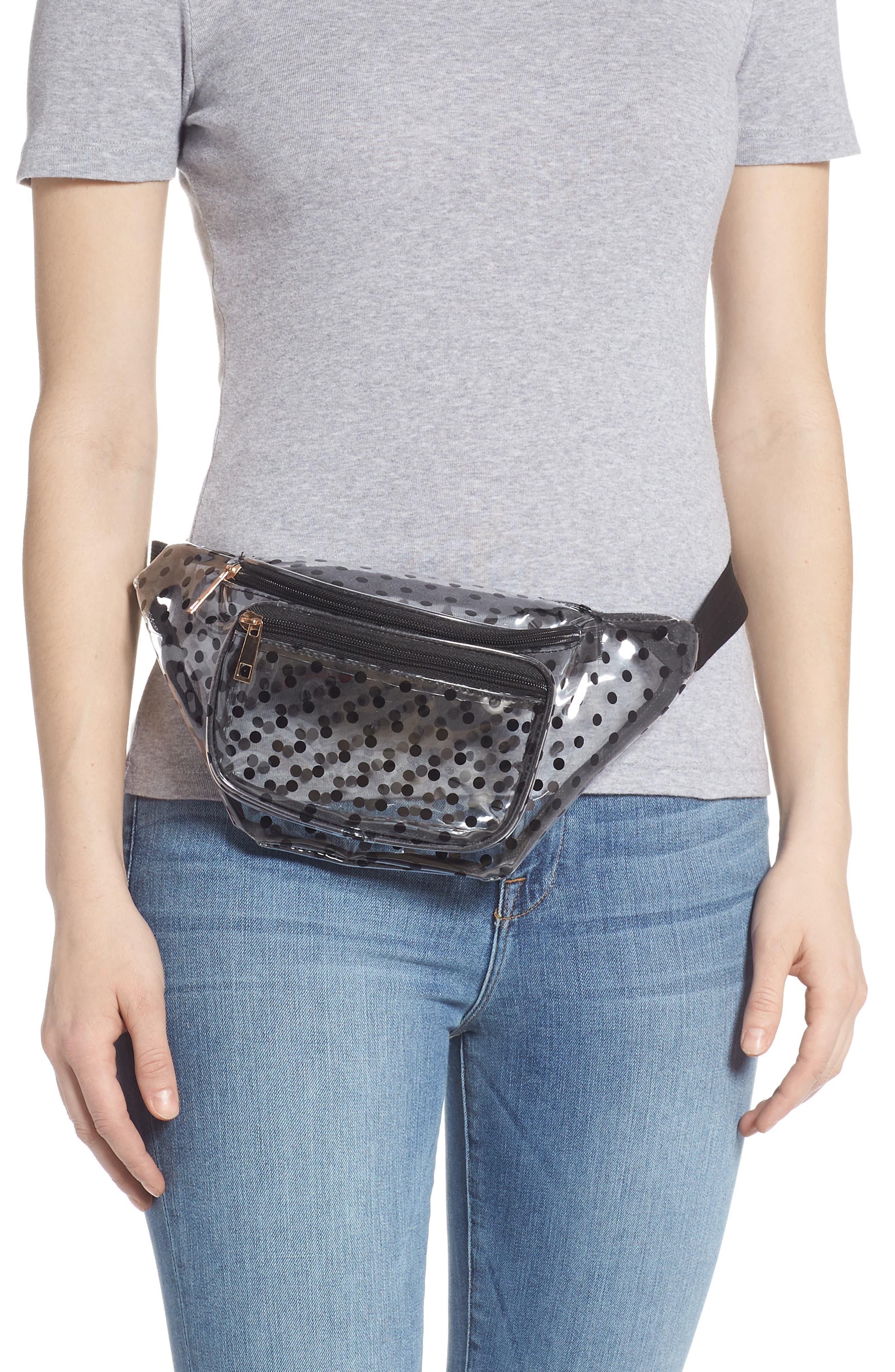 JANE & BERRY,                             Polka Dot Transparent Belt Bag,                             Alternate thumbnail 2, color,                             BLACK