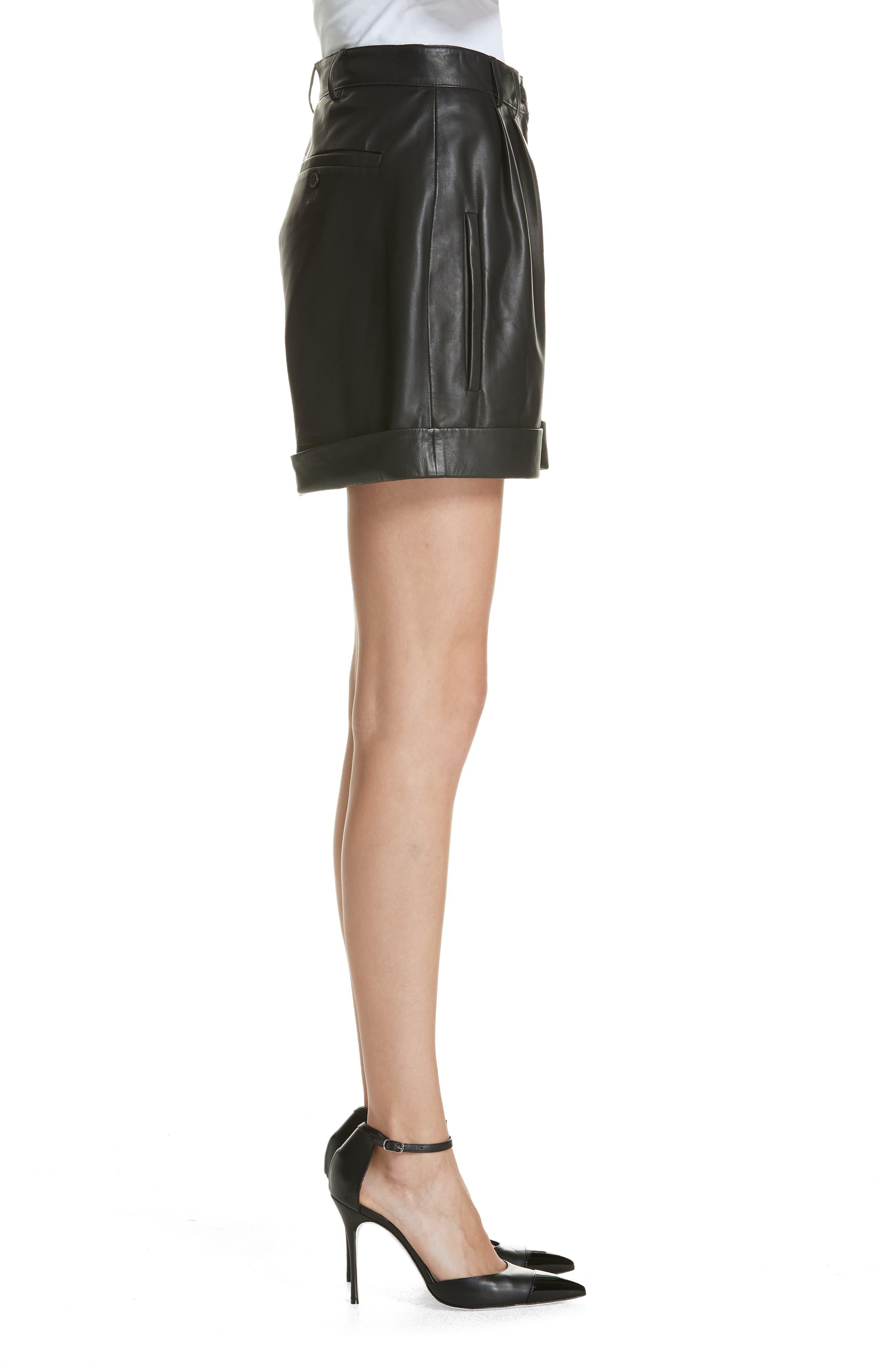 Leather Shorts,                             Alternate thumbnail 3, color,                             BLACK