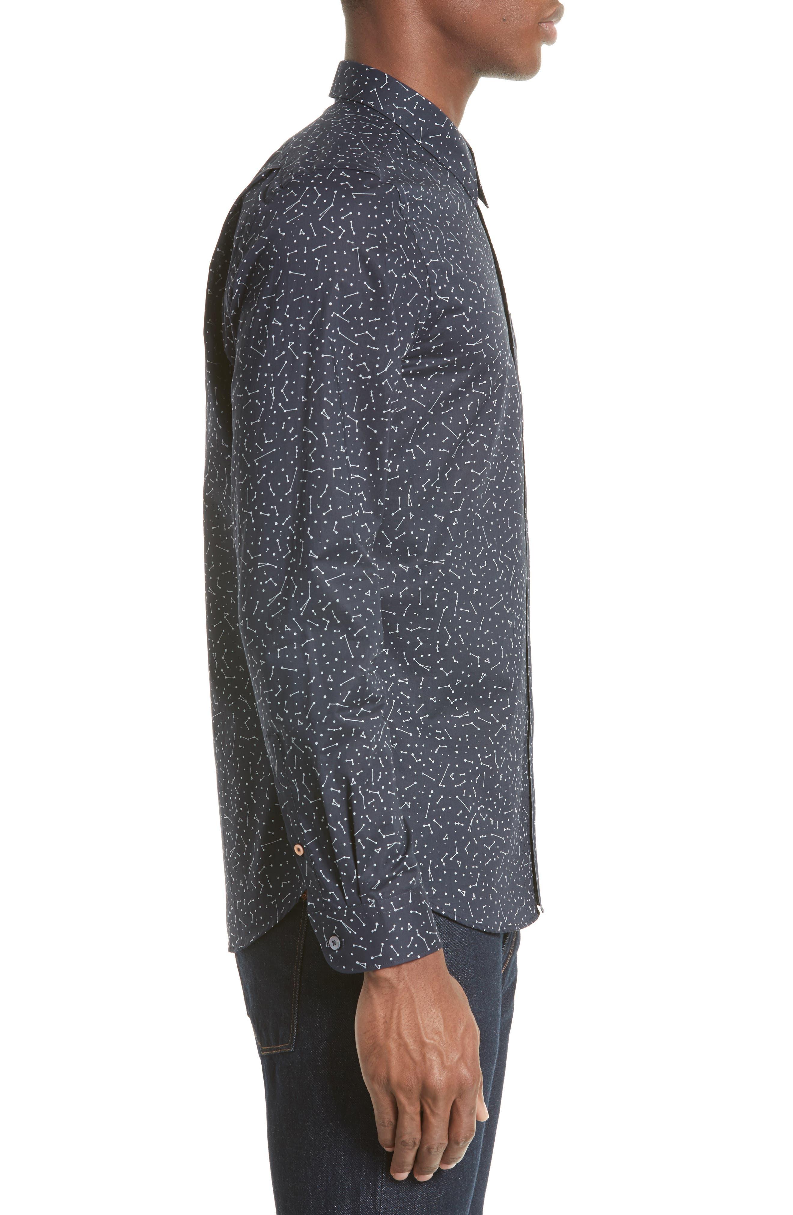 Extra Trim Fit Constellation Print Sport Shirt,                             Alternate thumbnail 4, color,