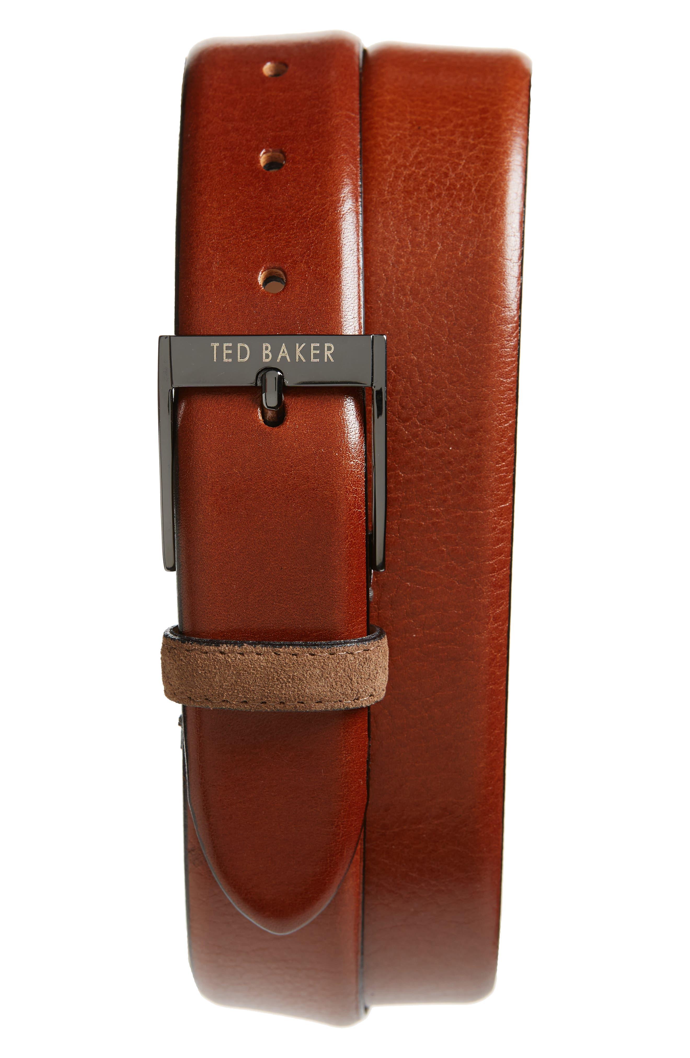 Ted Baker London Pests Leather Belt, Tan