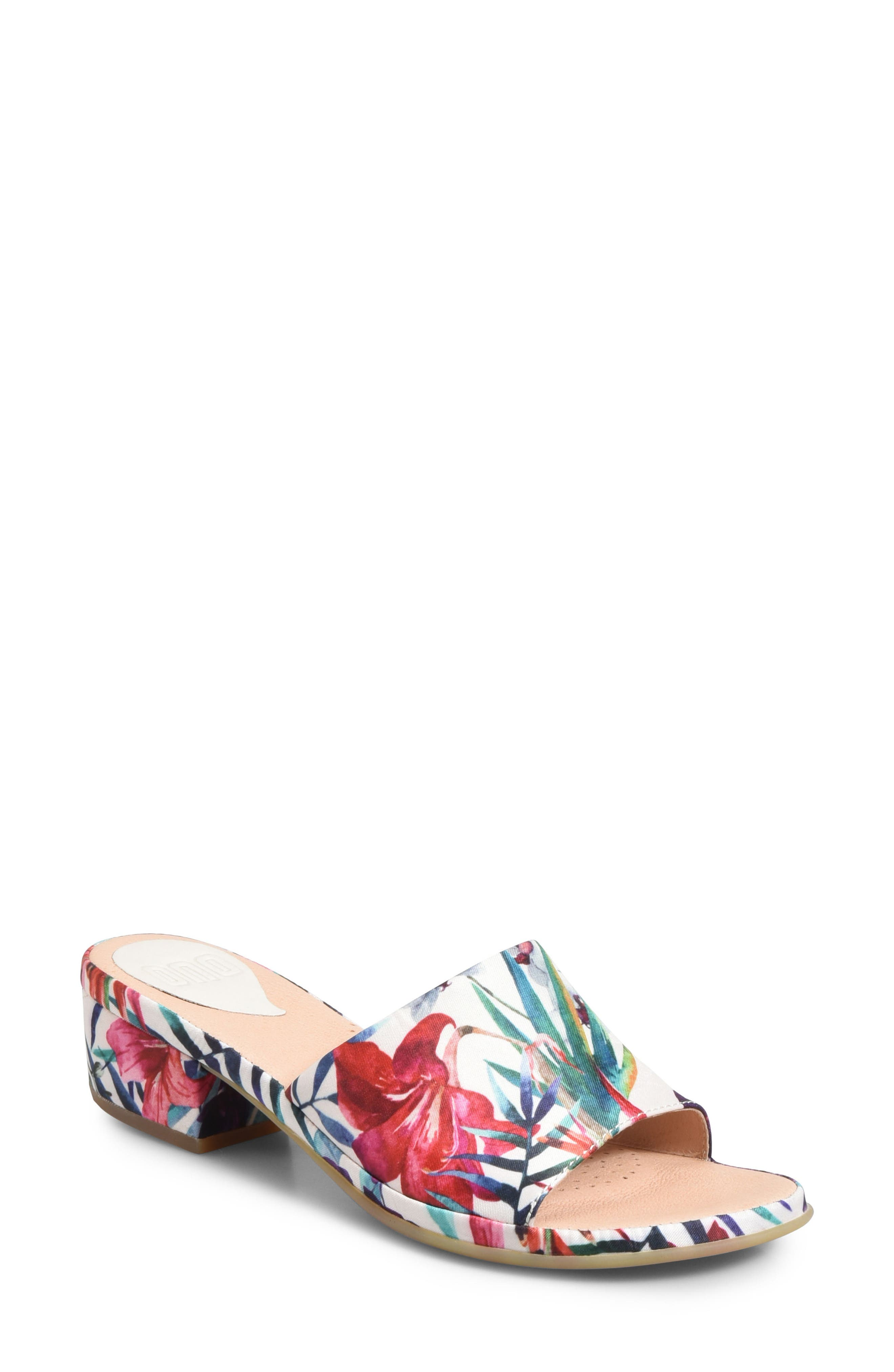 Bo Block Heel Slide Sandal,                             Main thumbnail 1, color,                             WHITE FABRIC