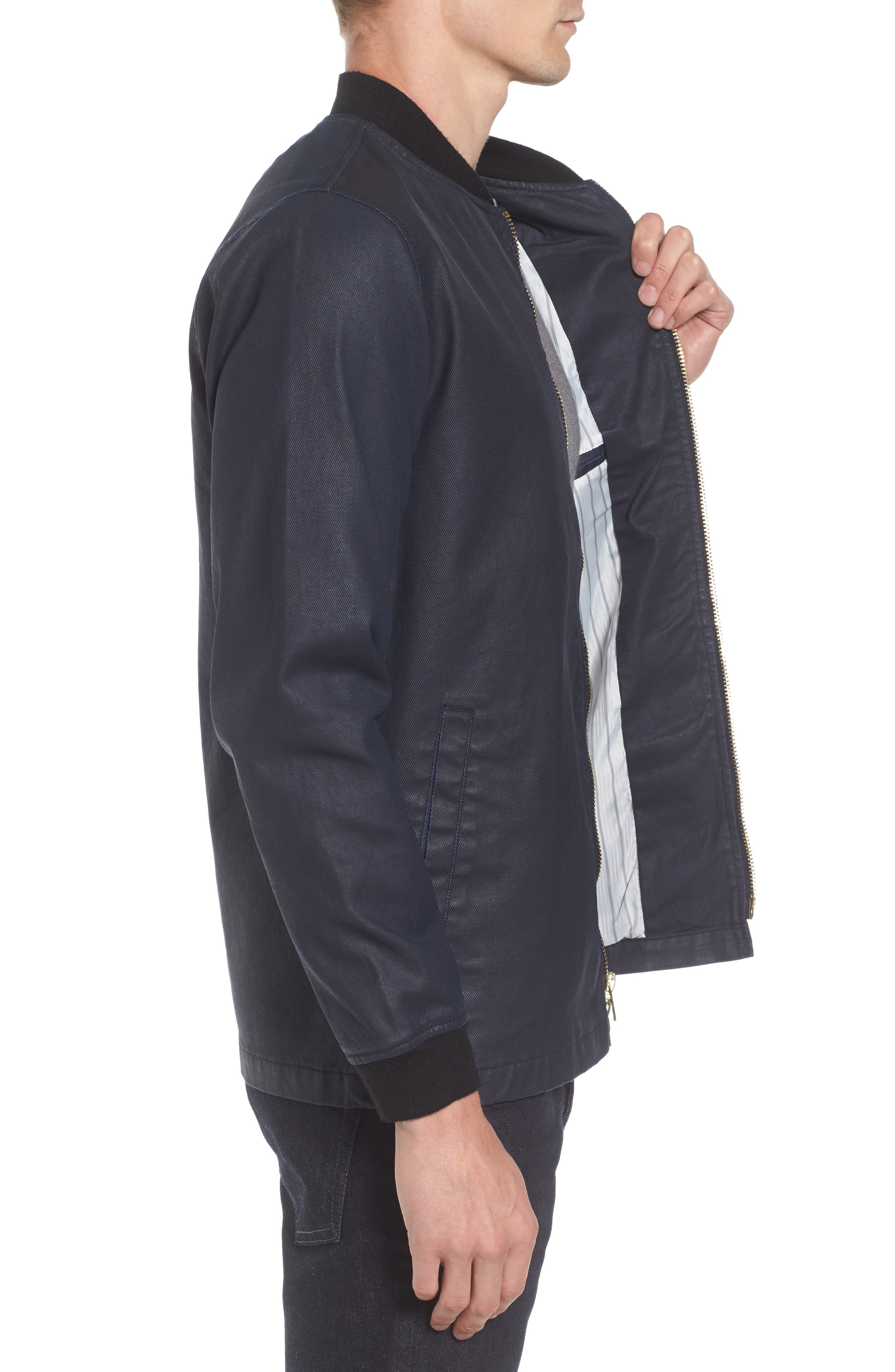 Coated Zip Front Jacket,                             Alternate thumbnail 3, color,                             NAVY