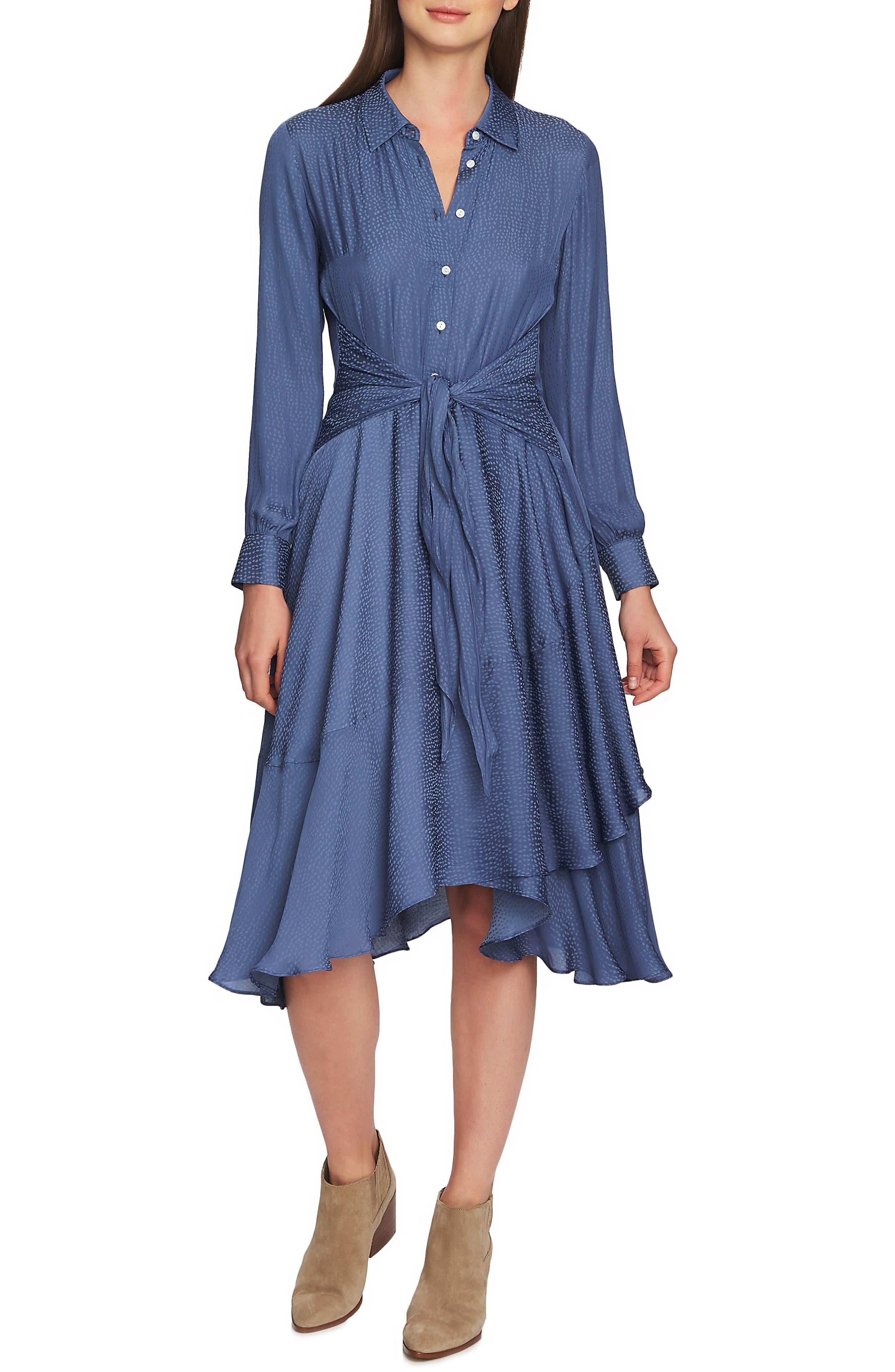 1.state Tie Front Dot Jacquard Dress