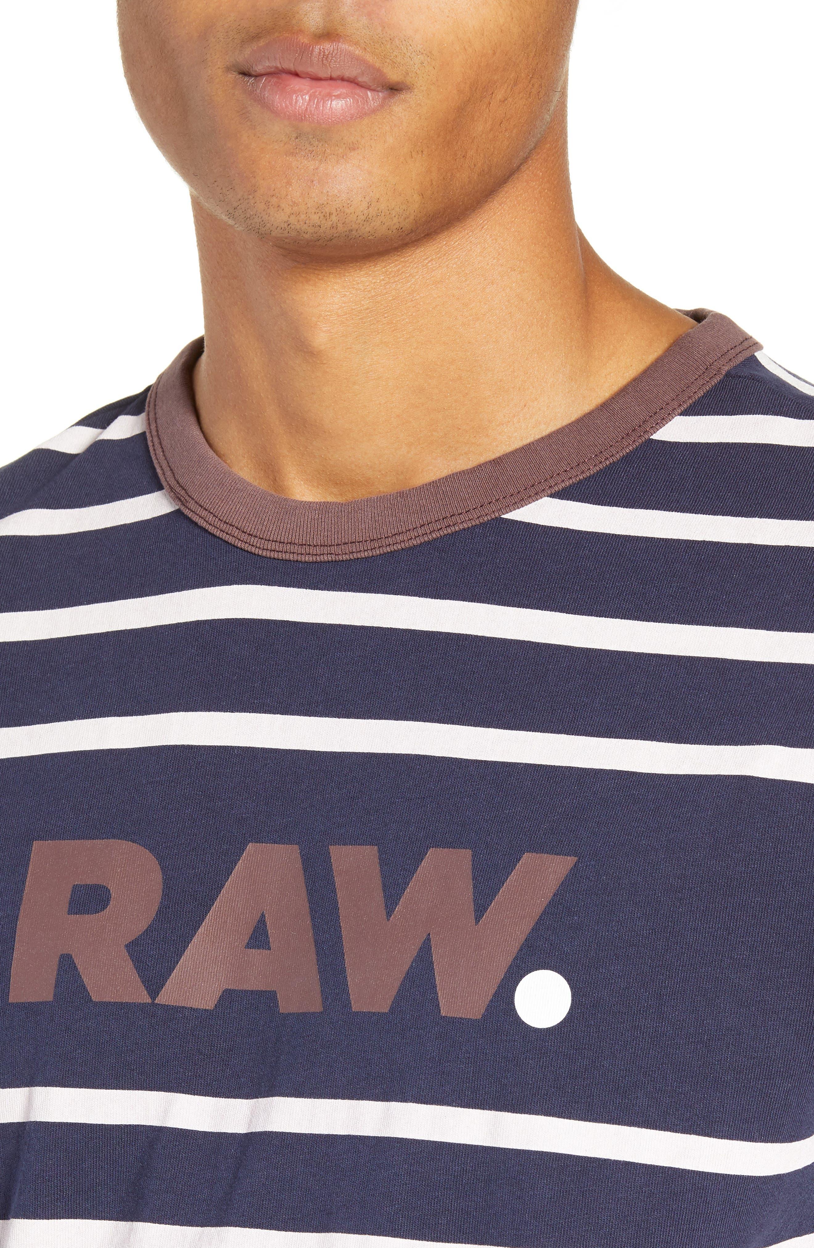 Mow Stripe Logo T-Shirt,                             Alternate thumbnail 4, color,                             SARTHO BLUE/ WHITE