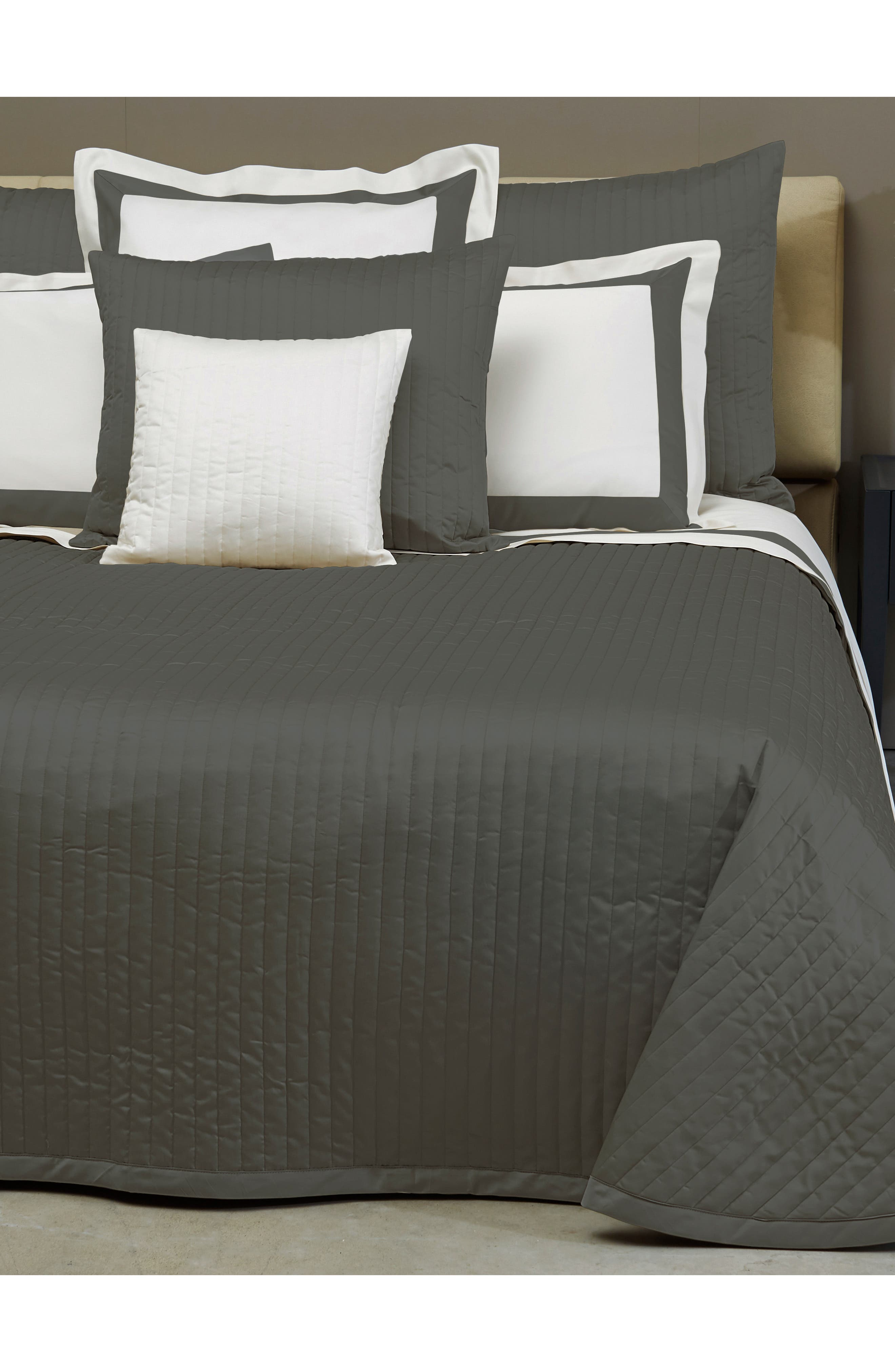 Sienna 300 Thread Count Quilted Coverlet,                             Alternate thumbnail 3, color,                             LEAD GREY