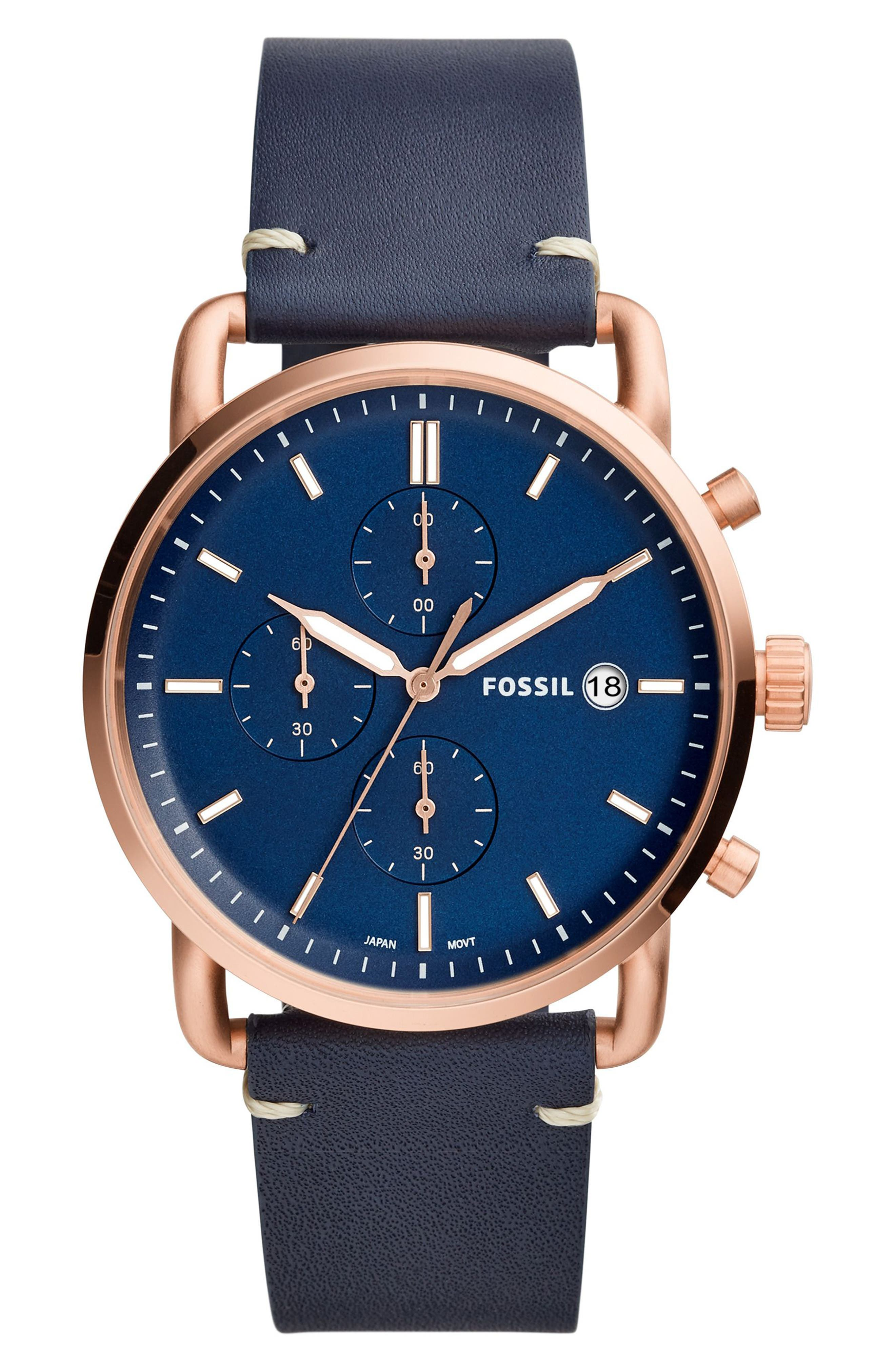 The Commuter Chronograph Leather Strap Watch, 42mm,                         Main,                         color, BLUE/ ROSE GOLD