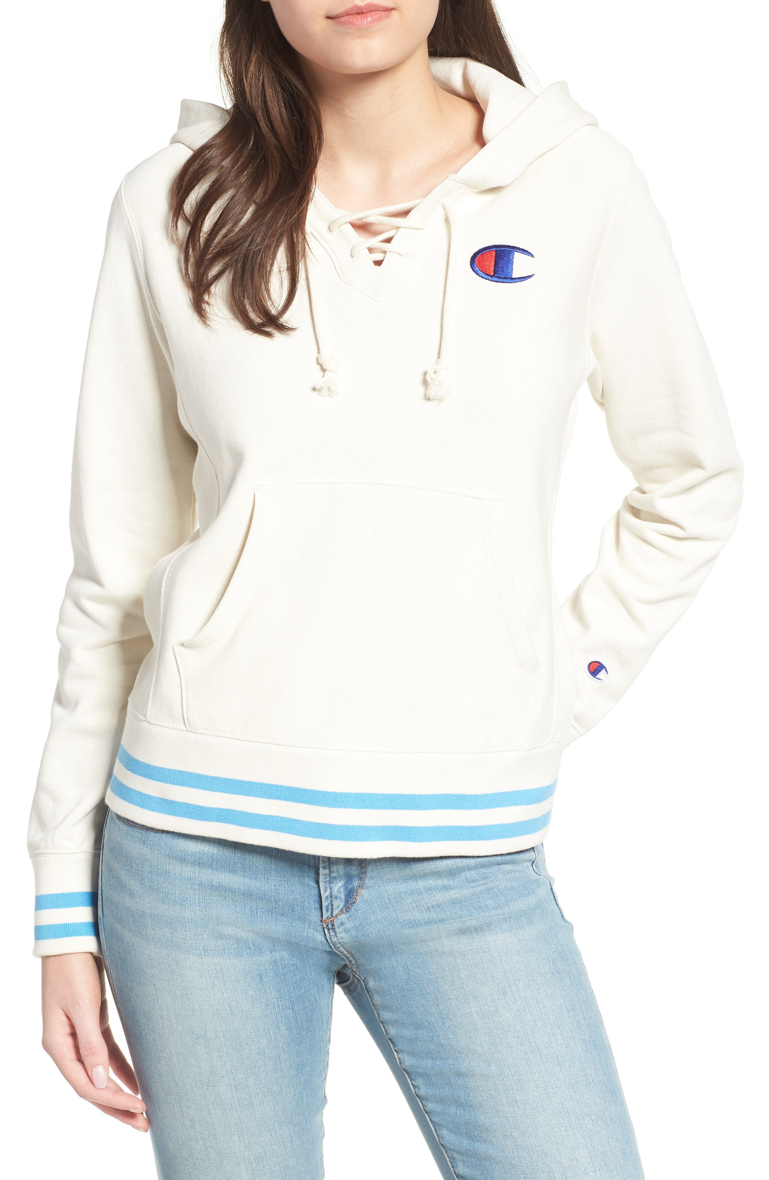 CHAMPION,                             Lace-Up Terry Hoodie,                             Main thumbnail 1, color,                             110
