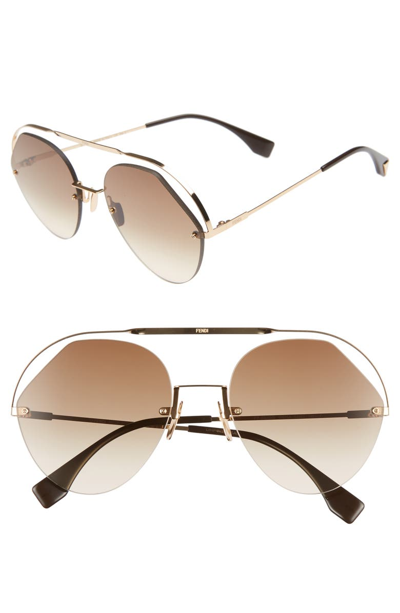 f091fe42982 Fendi 56Mm Semi Rimless Round Aviator Sunglasses In Brown ...