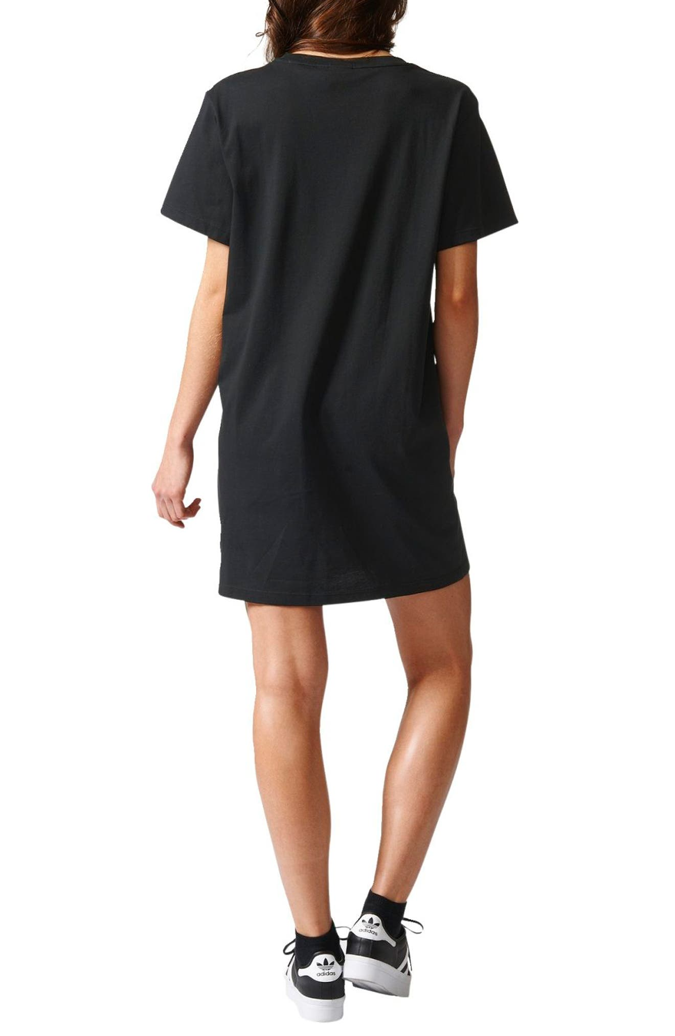 Trefoil Logo T-Shirt Dress,                             Alternate thumbnail 2, color,                             001