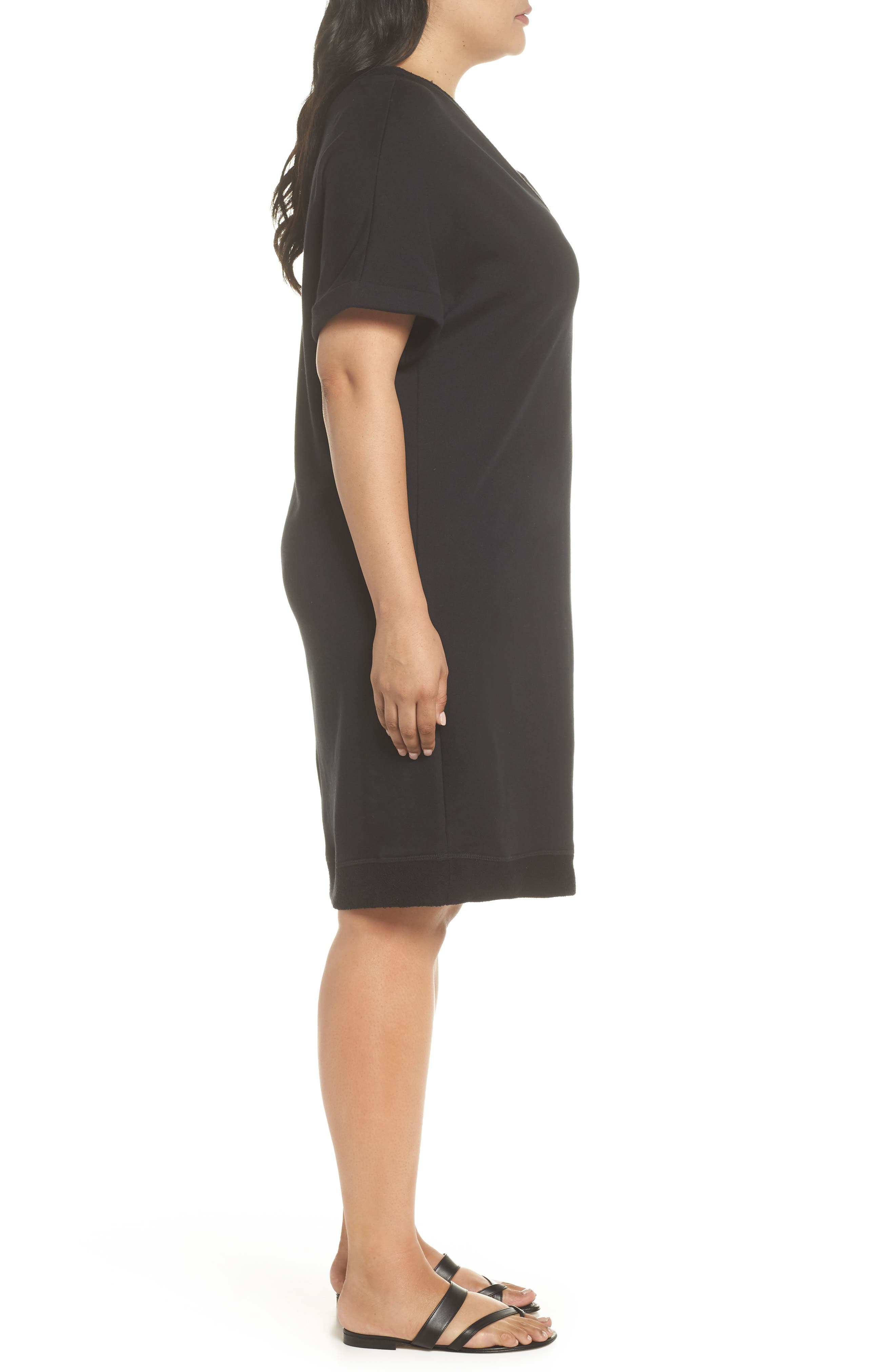 Off-Duty French Terry Dress,                             Alternate thumbnail 3, color,                             BLACK