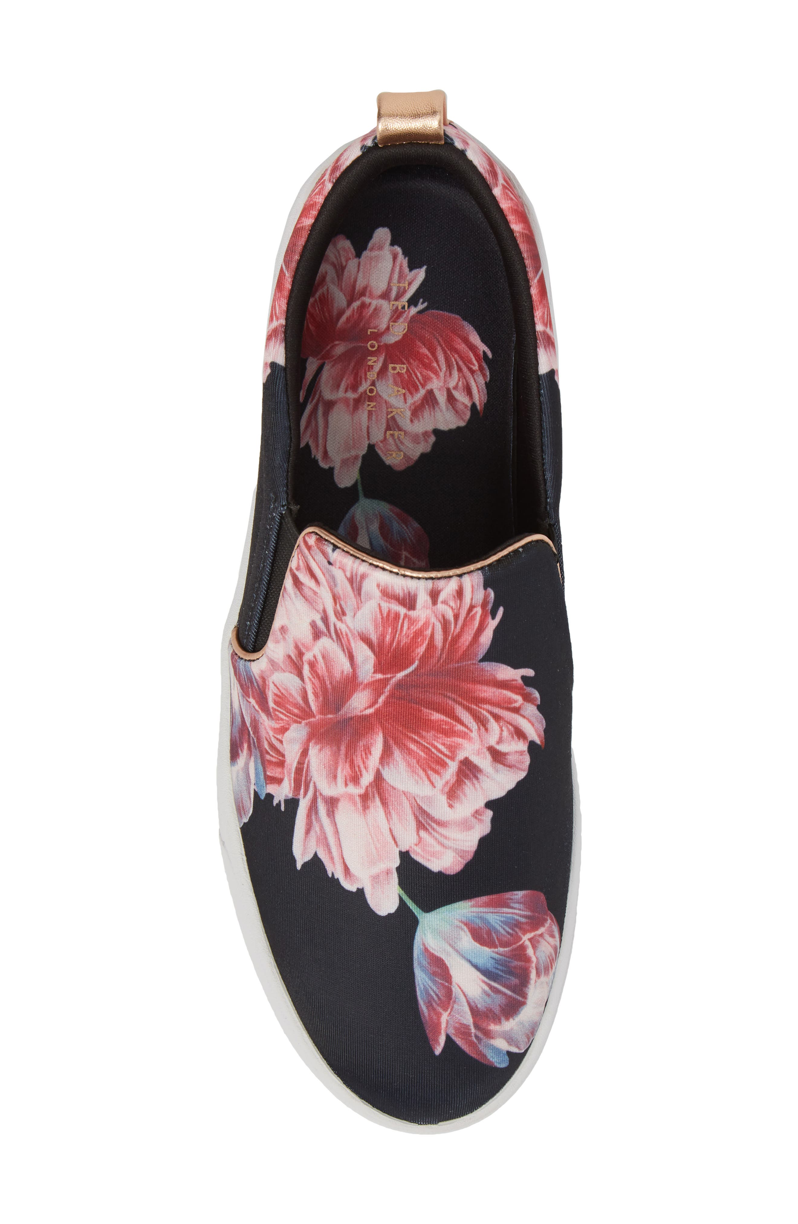 Tancey Slip-On Sneaker,                             Alternate thumbnail 5, color,                             BLACK TRANQUILITY FABRIC