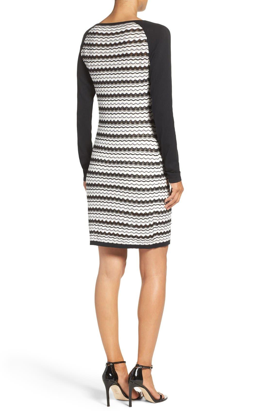 'Zeal' Pointelle Sweater Dress,                             Alternate thumbnail 3, color,                             001