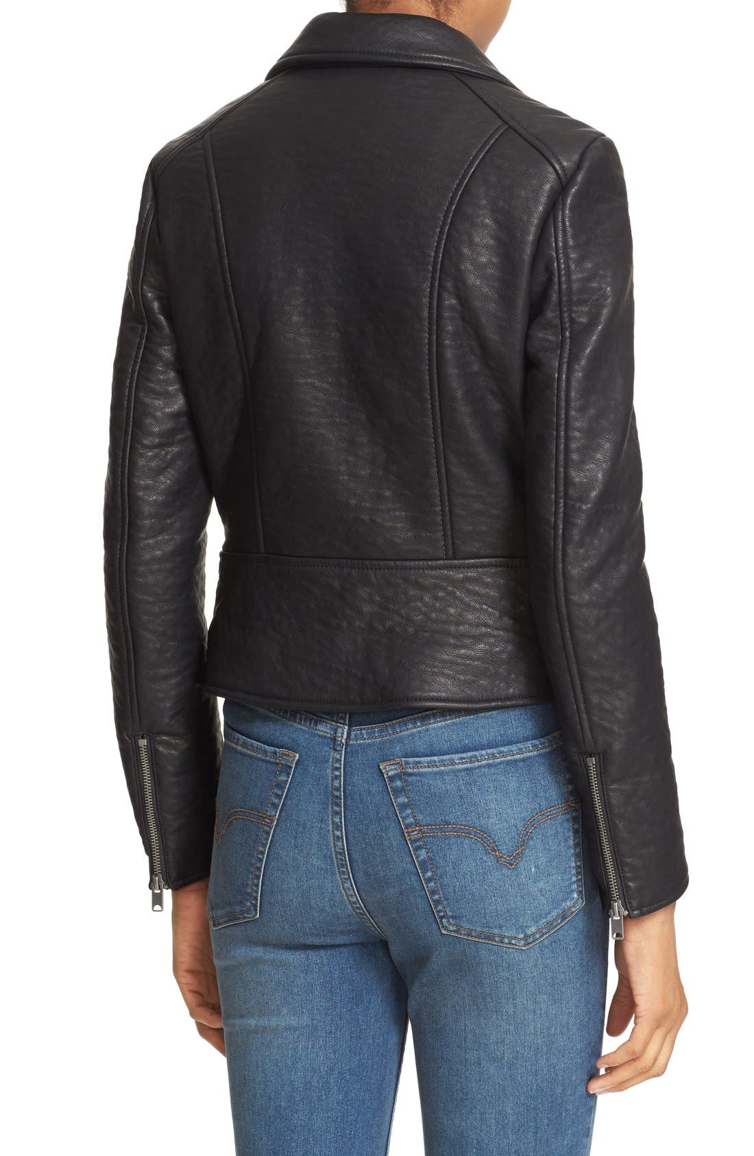 'Soho' Faux Leather Moto Jacket,                             Alternate thumbnail 3, color,                             001