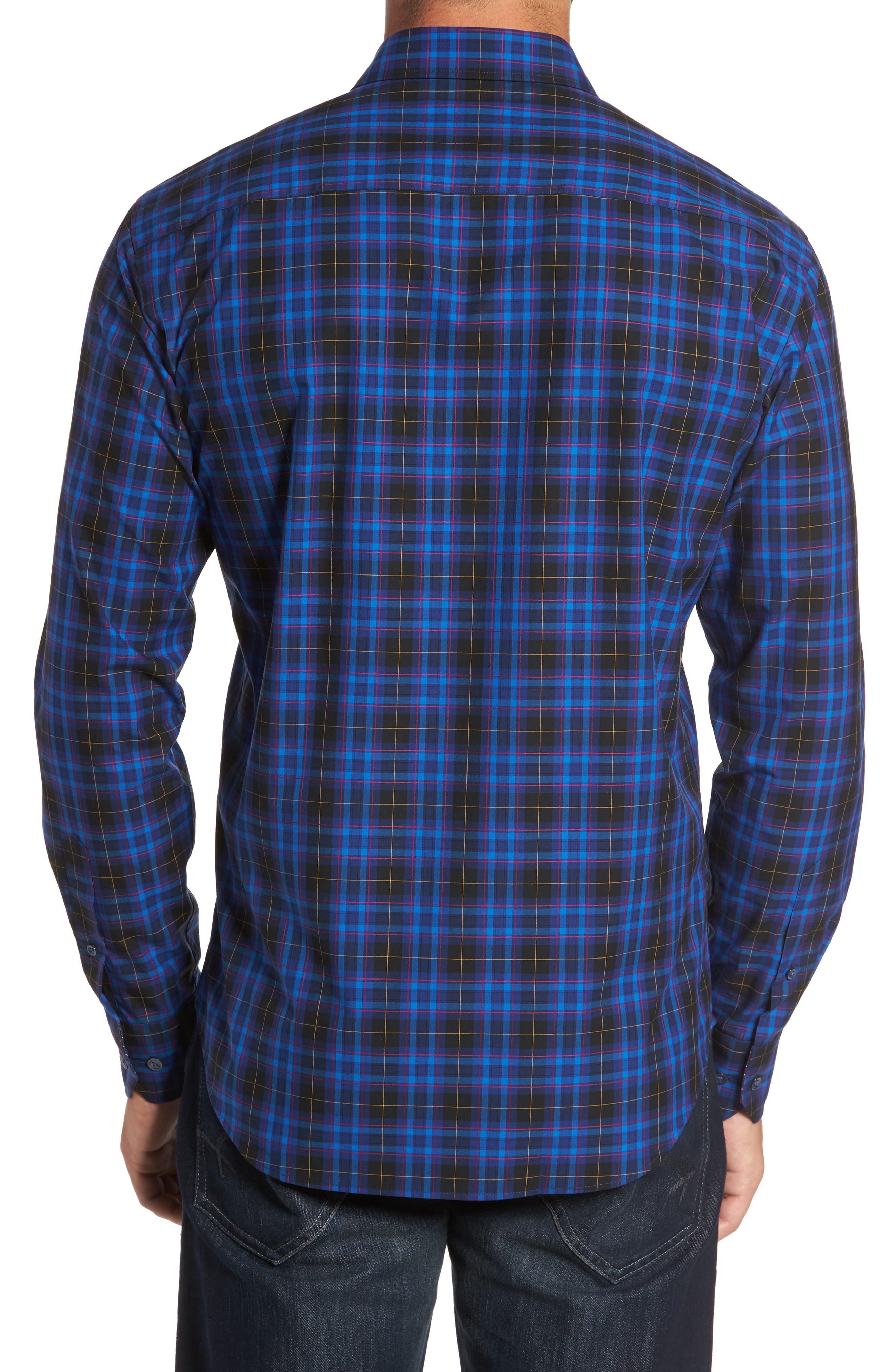 Shaped Fit Plaid Sport Shirt,                             Alternate thumbnail 2, color,                             411