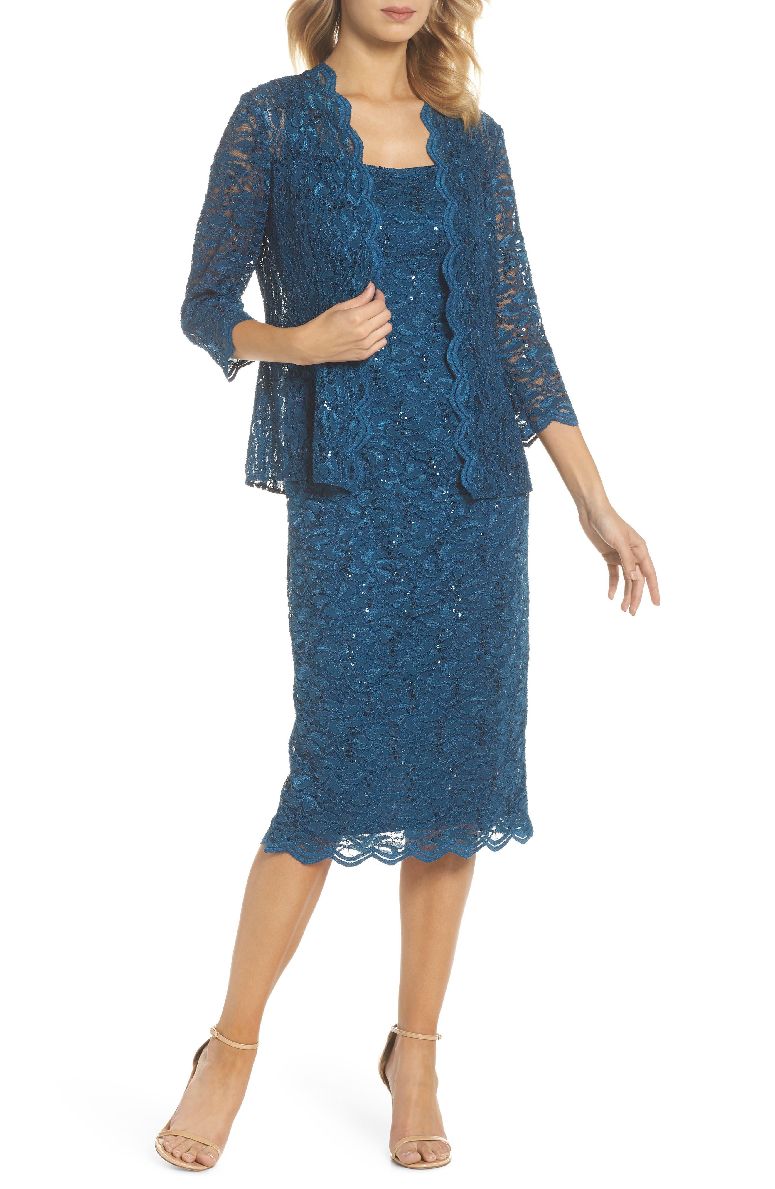 Lace Dress & Jacket,                             Main thumbnail 1, color,                             PEACOCK