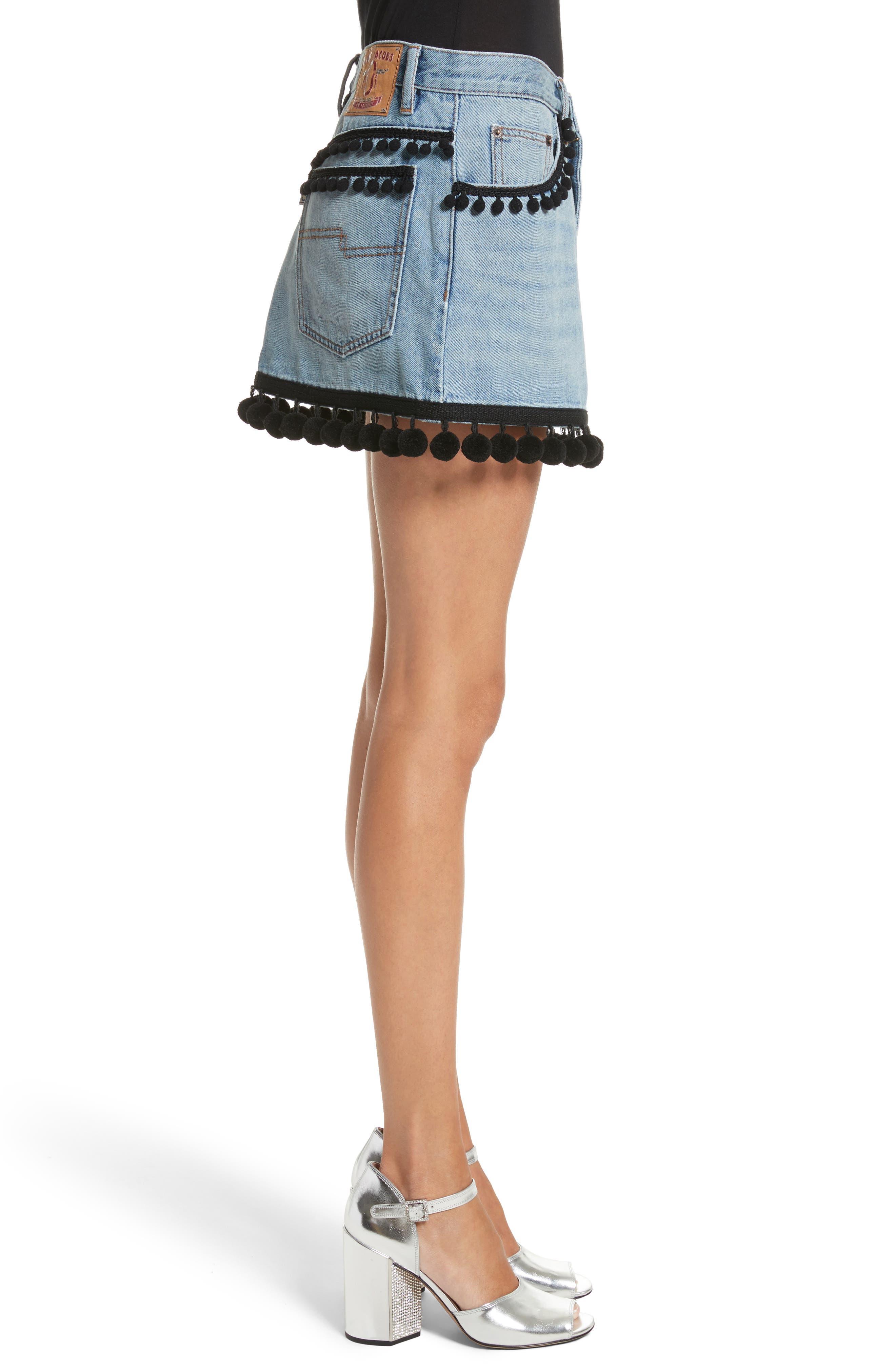 Pompom Trim Denim Miniskirt,                             Alternate thumbnail 3, color,                             489
