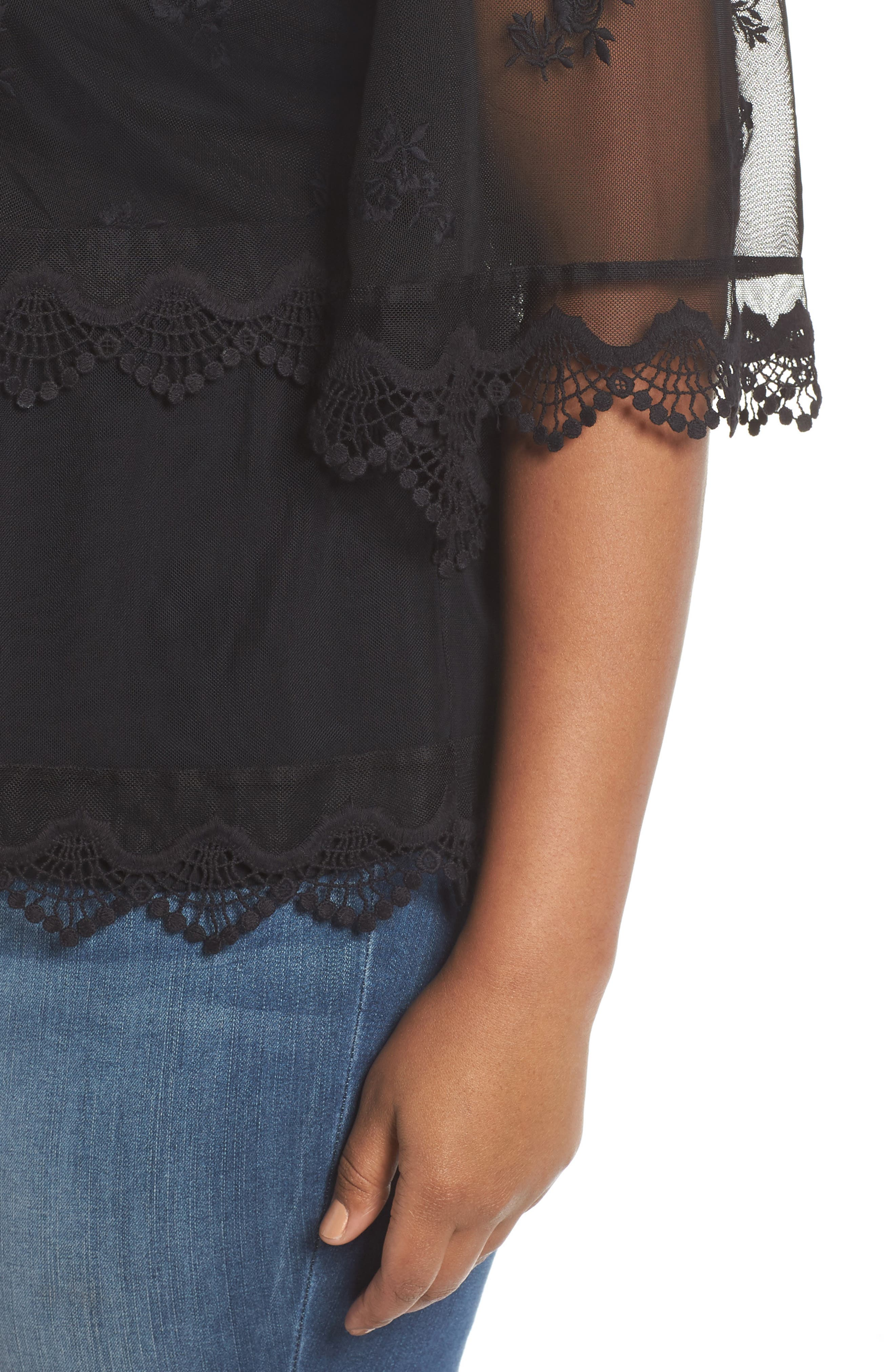 Scallop Trim Embroidered Mesh Top,                             Alternate thumbnail 4, color,                             RICH BLACK