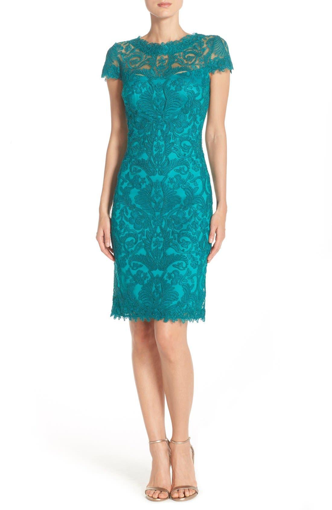 Illusion Yoke Lace Sheath Dress,                             Alternate thumbnail 77, color,