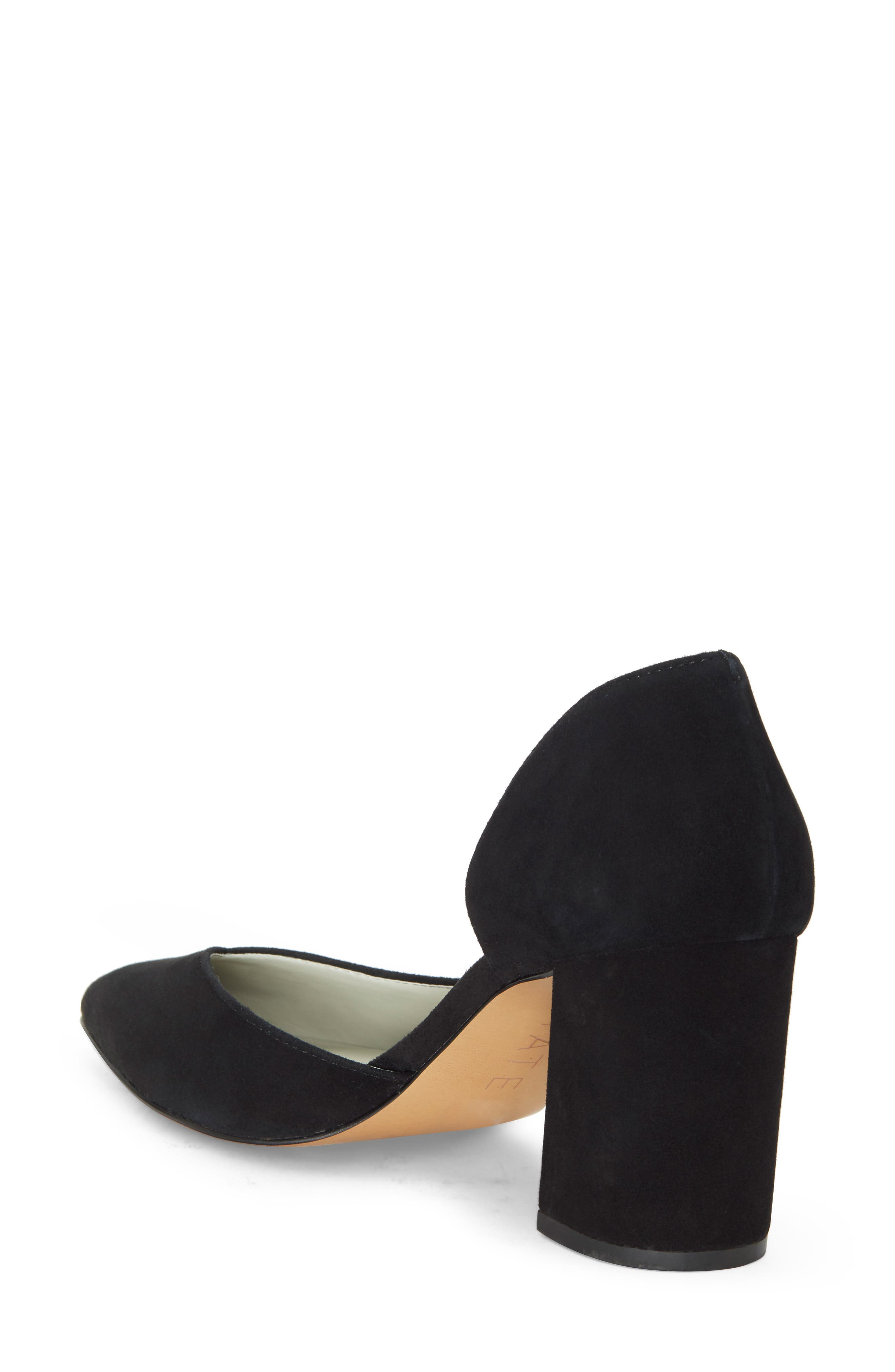 Sisteen Half d'Orsay Pump,                             Alternate thumbnail 2, color,                             BLACK SUEDE