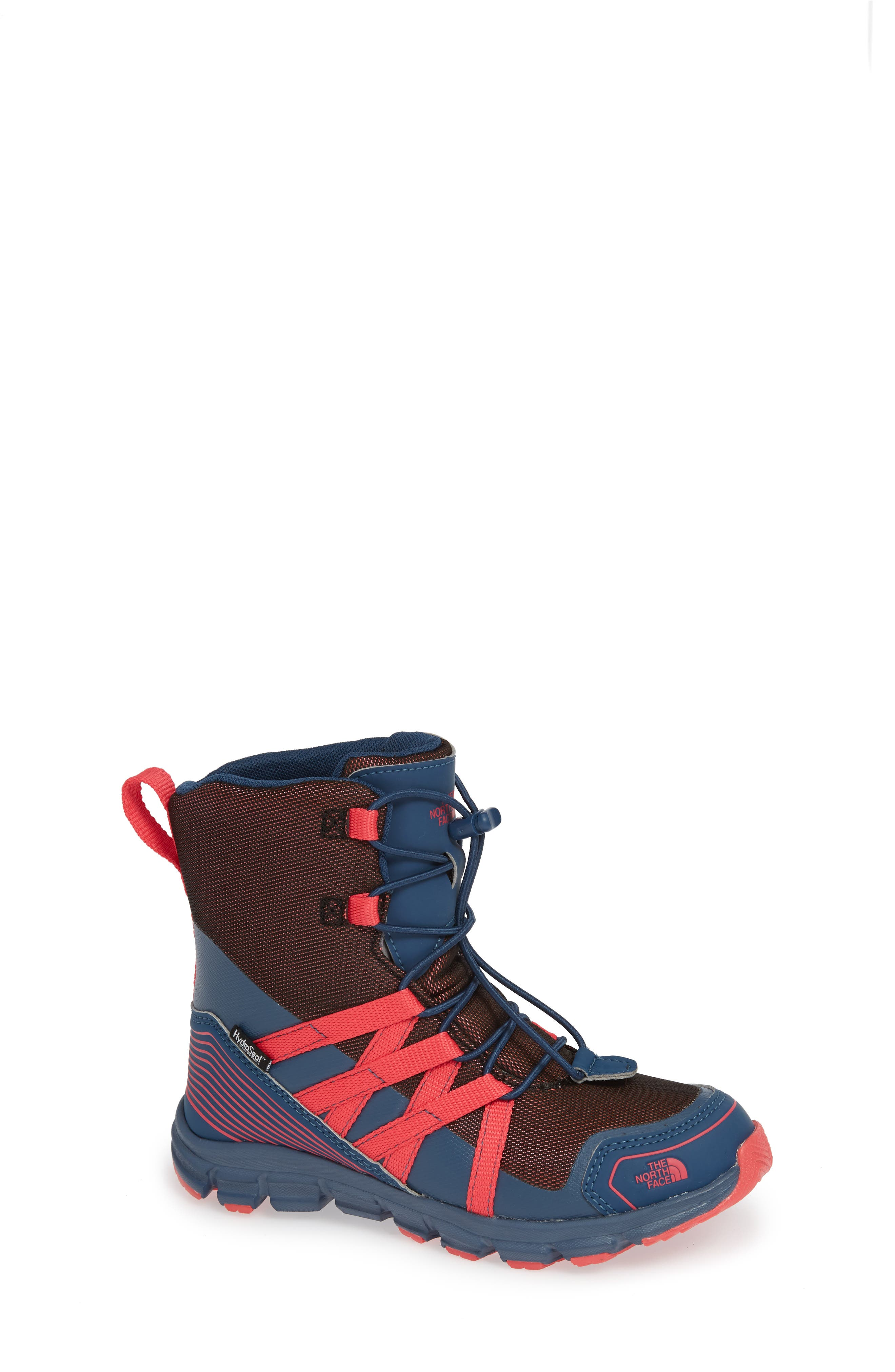 Junior Winter Sneaker Waterproof Insulated Boot,                             Main thumbnail 1, color,                             BLUE WING TEAL/ ATOMIC PINK