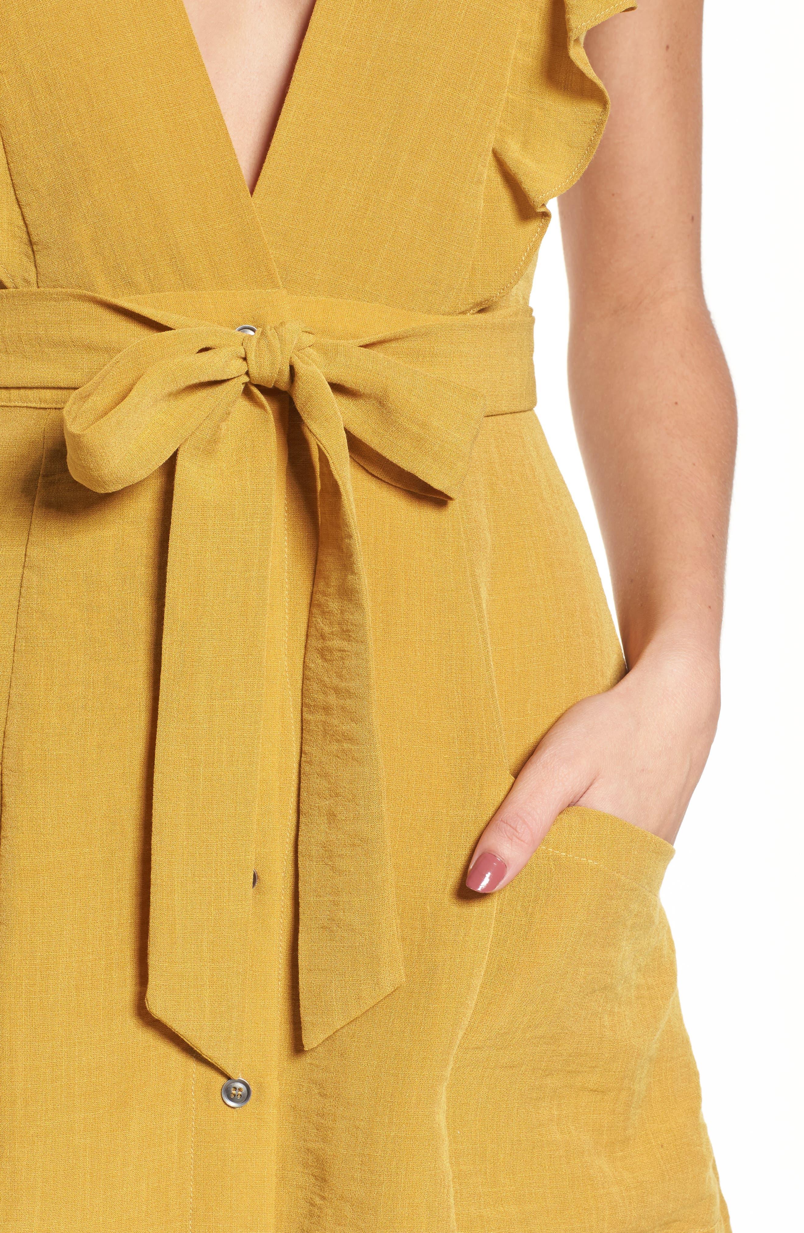 Poppy Flutter Sleeve Tie Dress,                             Alternate thumbnail 4, color,