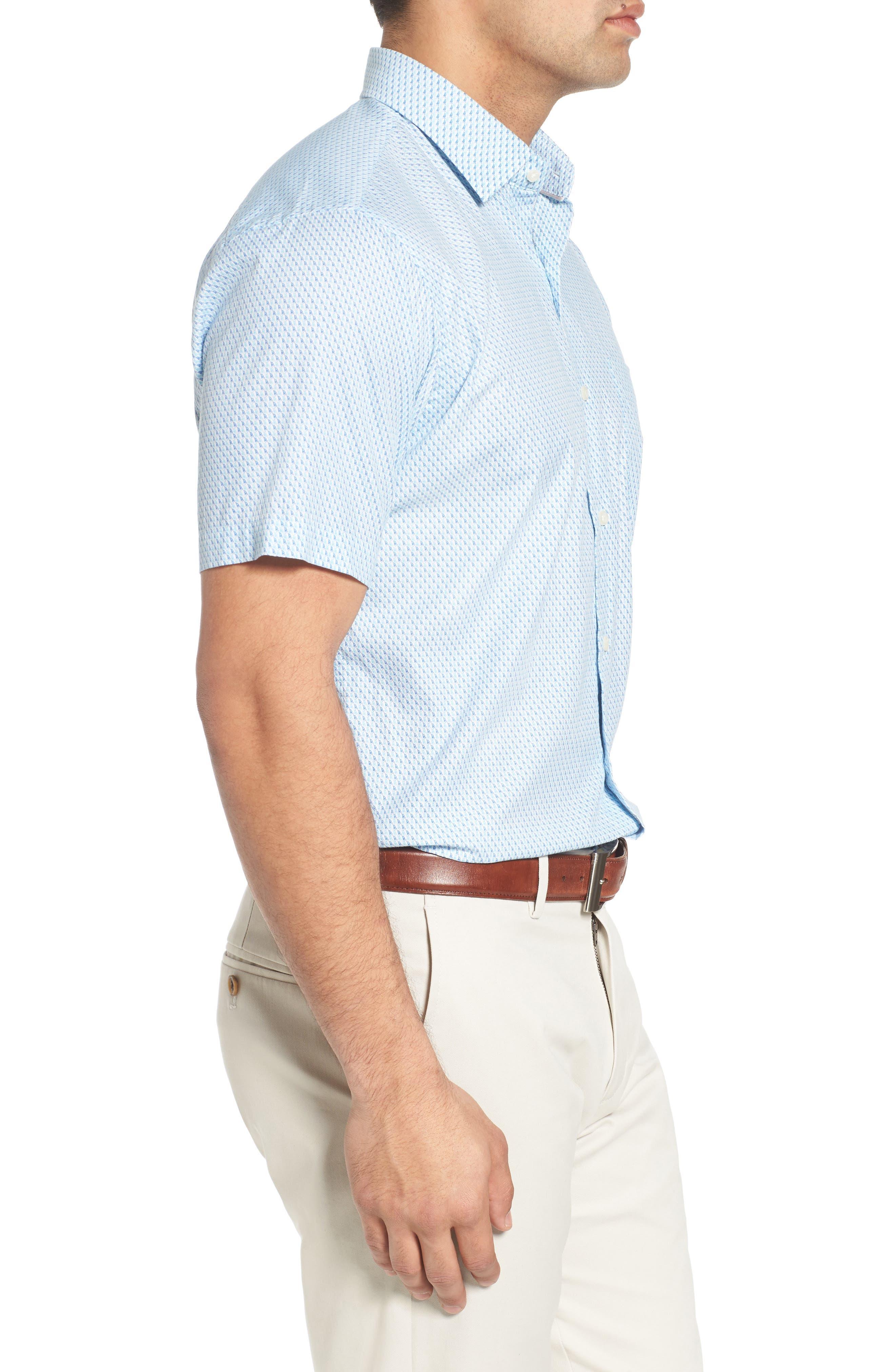 Sail Away Regular Fit Cotton & Silk Sport Shirt,                             Alternate thumbnail 3, color,                             407