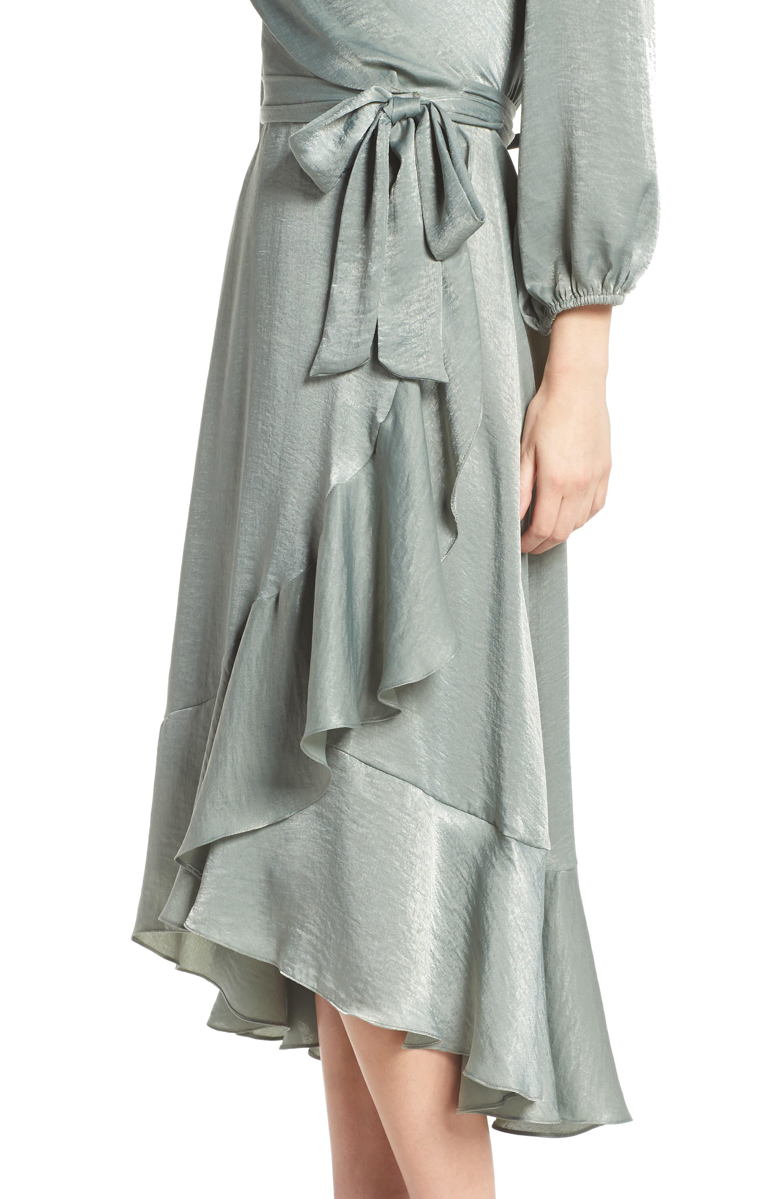 Jennifer Shimmer Satin Wrap Dress,                             Alternate thumbnail 4, color,                             321