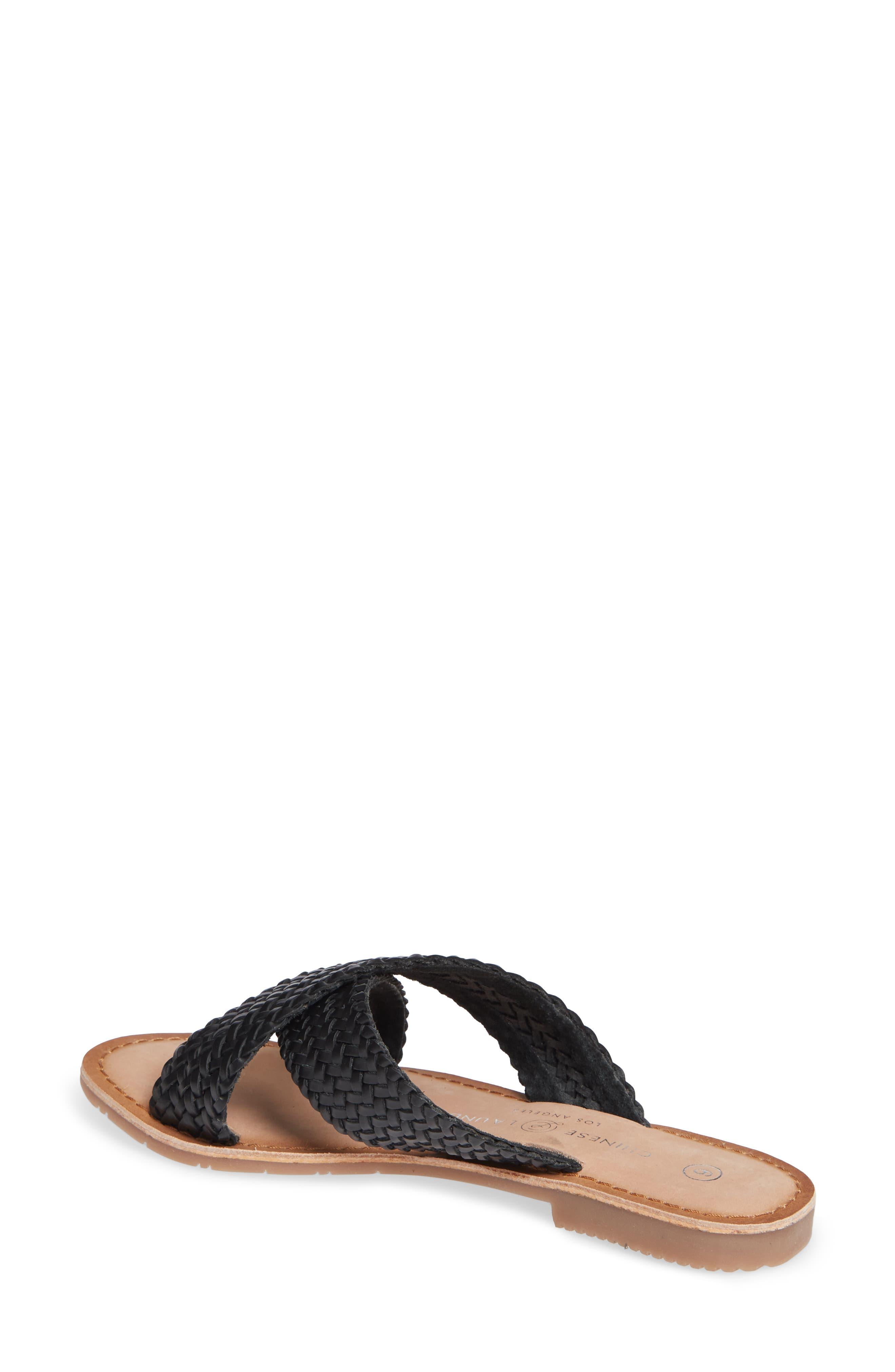 Pure Woven Slide Sandal,                             Alternate thumbnail 2, color,                             BLACK LEATHER