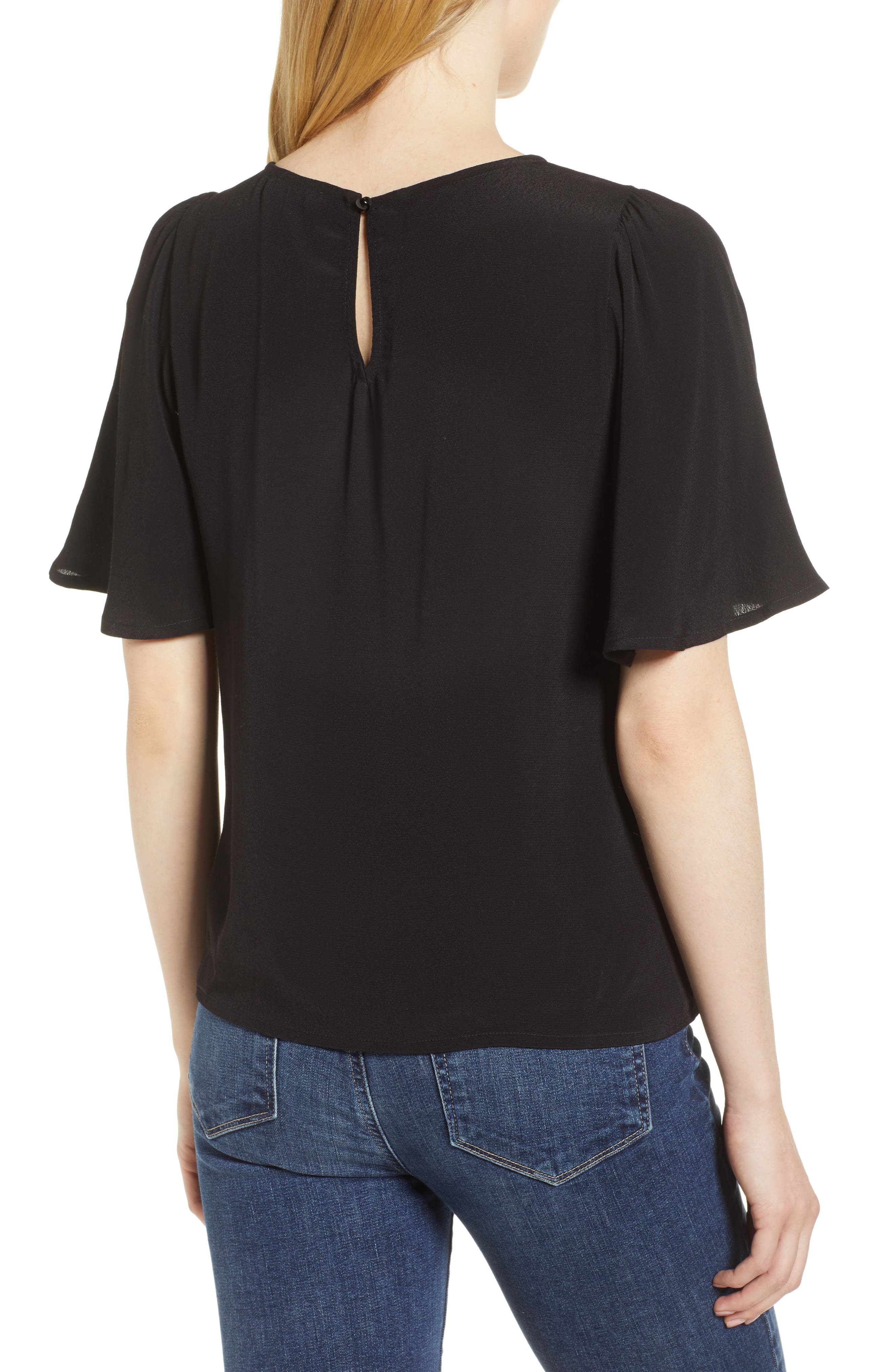 Ruffle Tie Front Top,                             Alternate thumbnail 6, color,