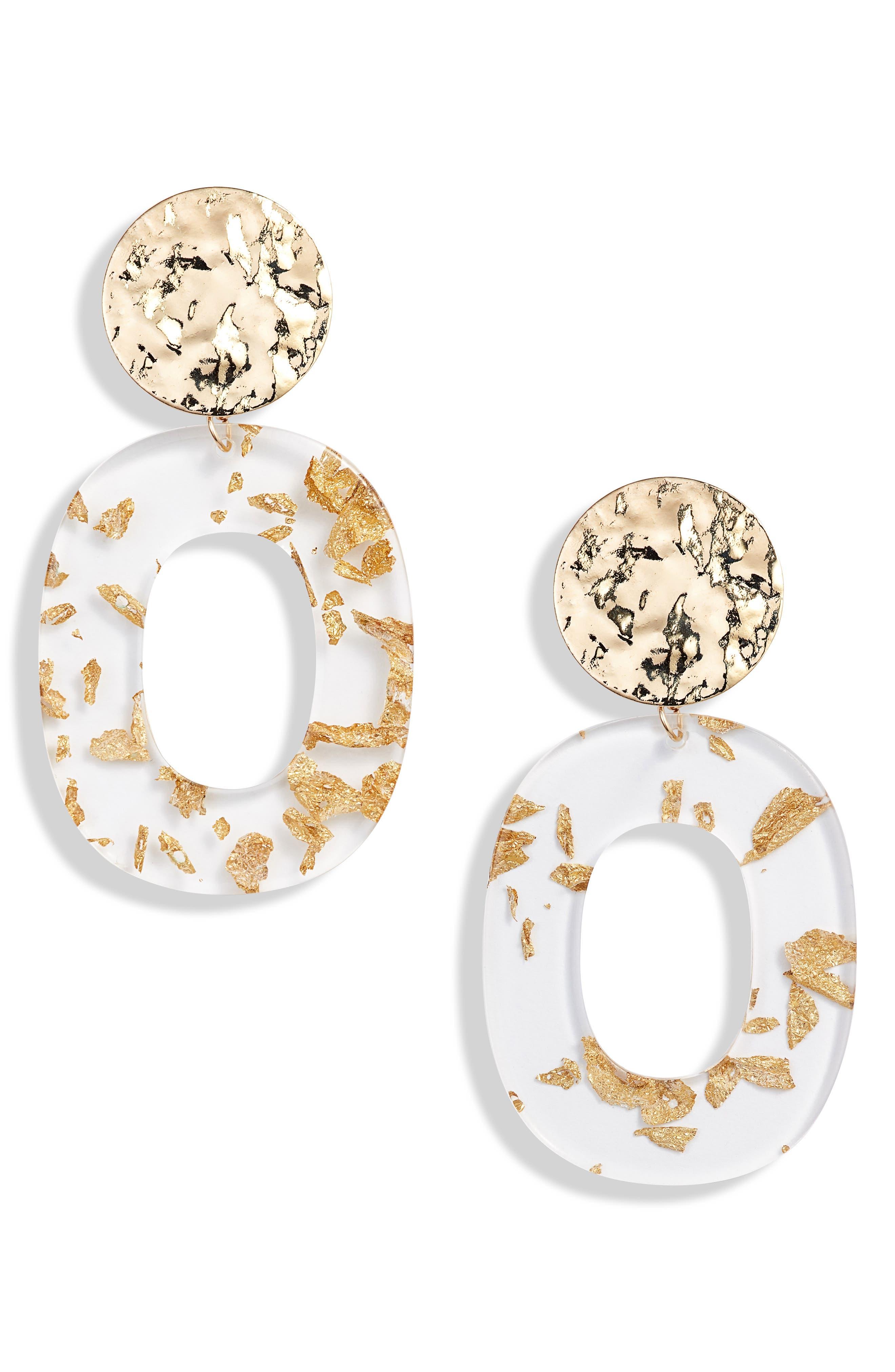Deco Acrylic Drop Hoop Earrings,                             Main thumbnail 1, color,                             GOLD