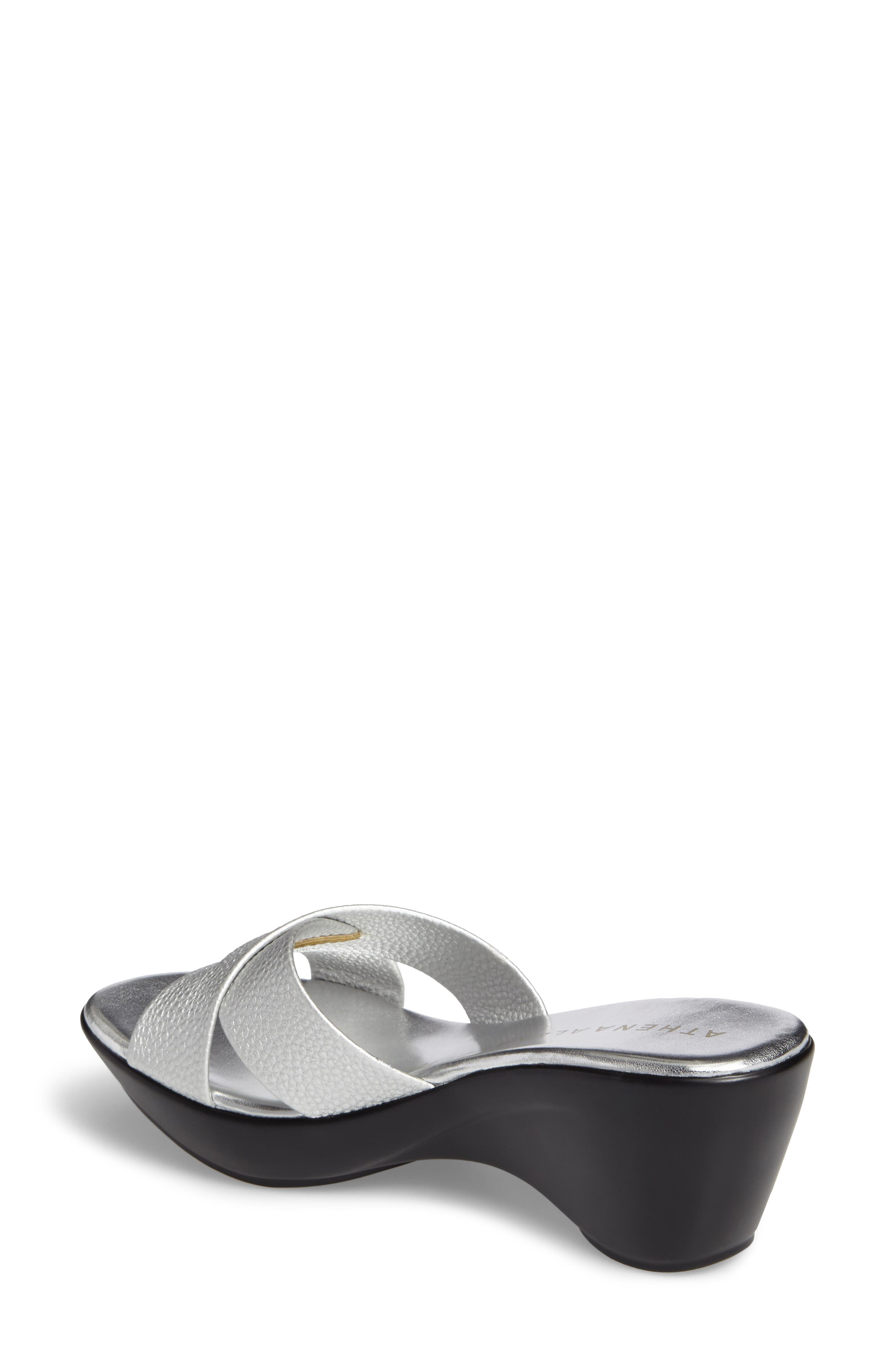 Verna Wedge Slide Sandal,                             Alternate thumbnail 2, color,                             SILVER FAUX LEATHER