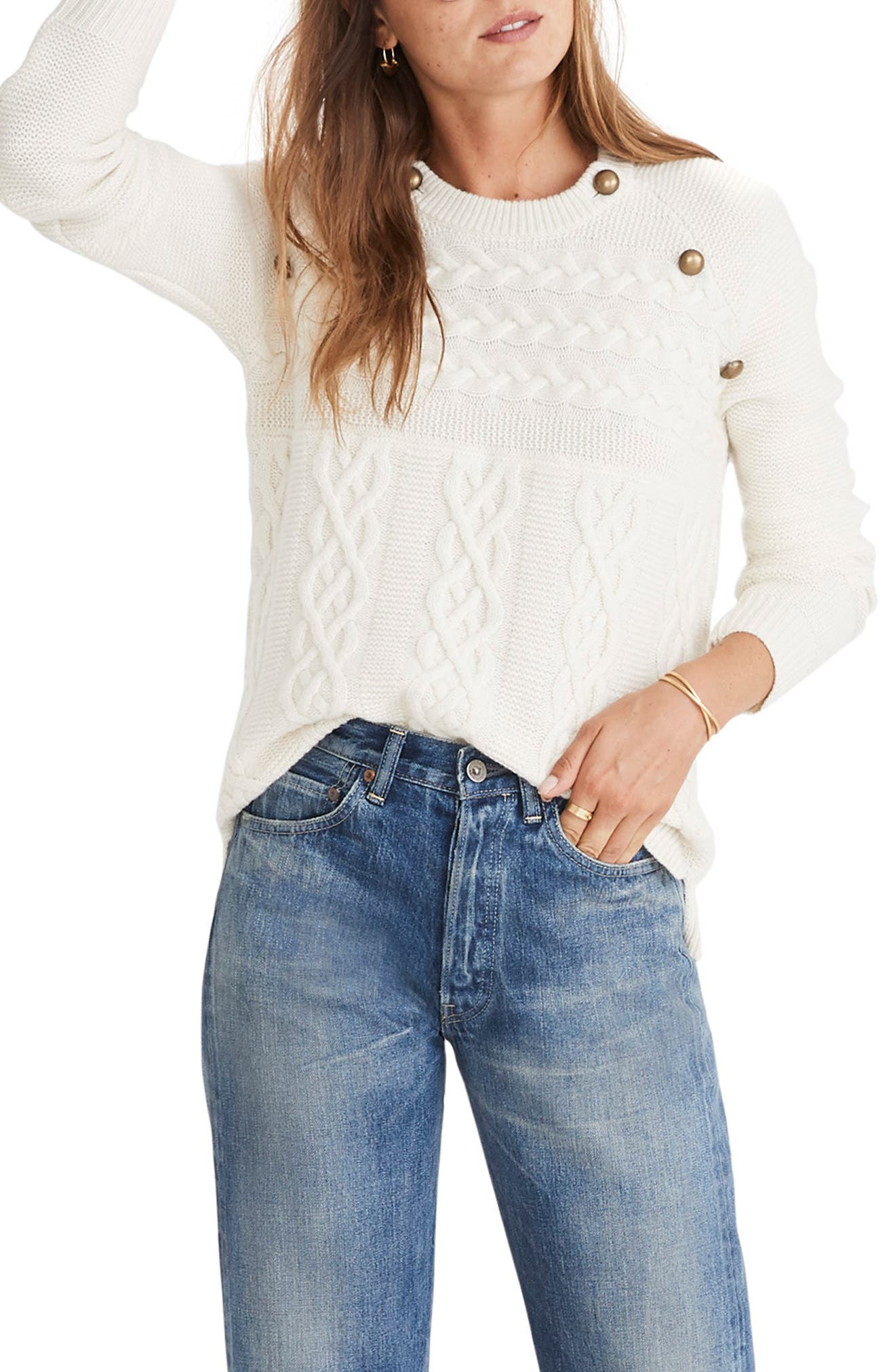 MADEWELL Button Detail Cable Knit Pullover Sweater, Main, color, 100