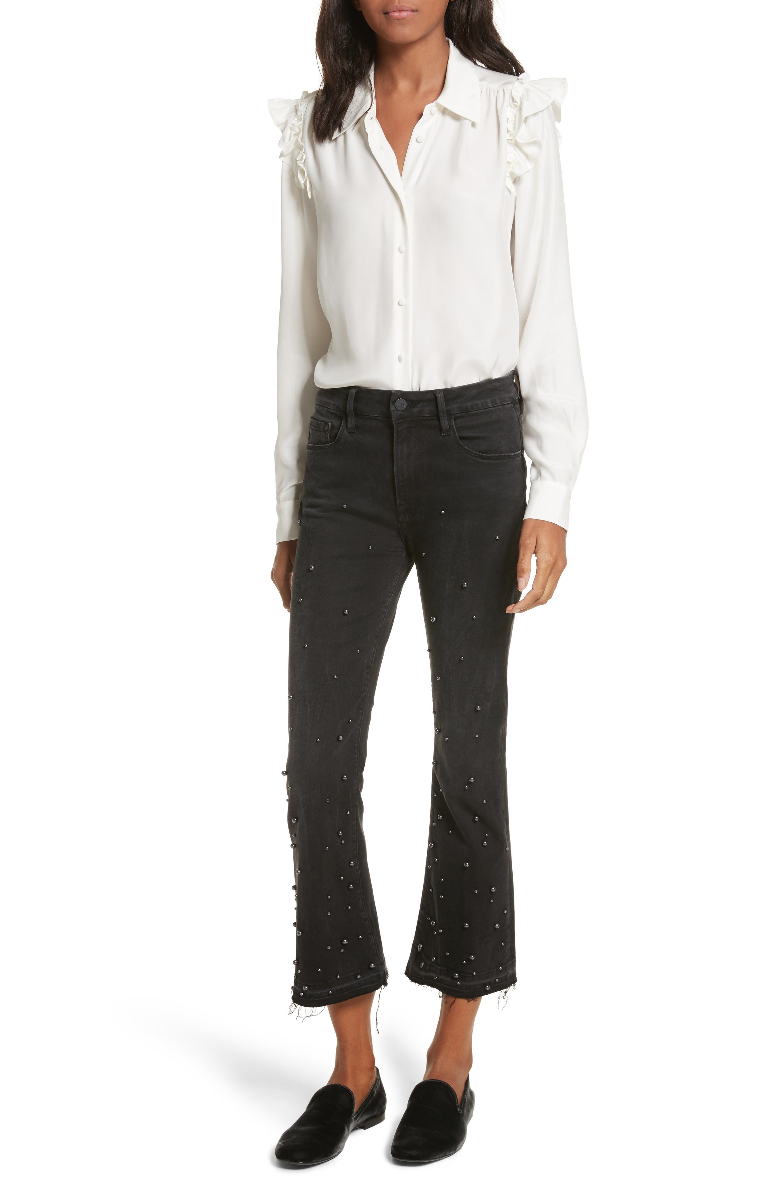 Raw Edge High Rise Embellished Crop Jeans,                             Alternate thumbnail 7, color,                             020