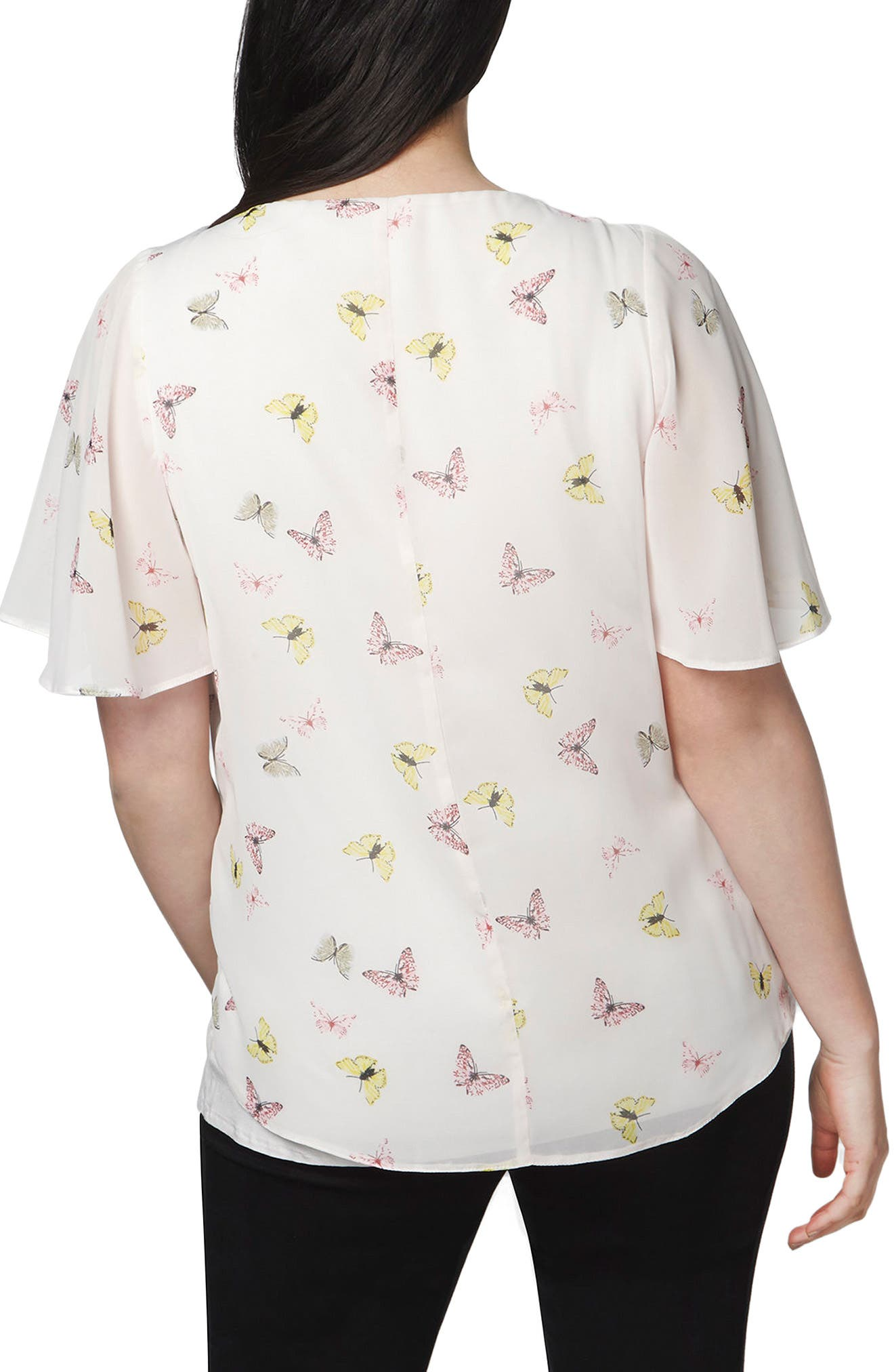 Butterfly Print Overlay Top,                             Alternate thumbnail 3, color,                             900