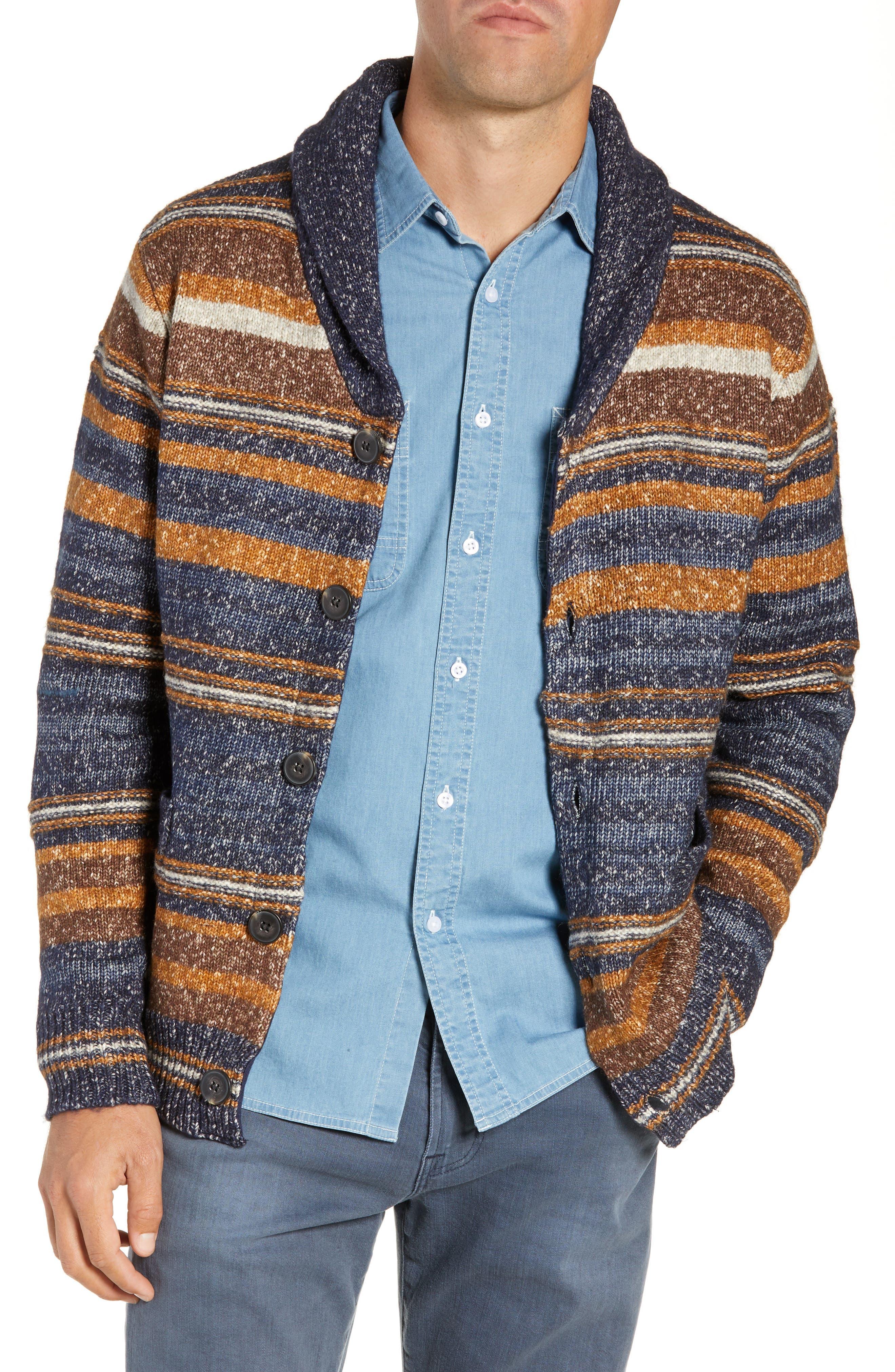 Schott Nyc Stripe Cardigan Sweater