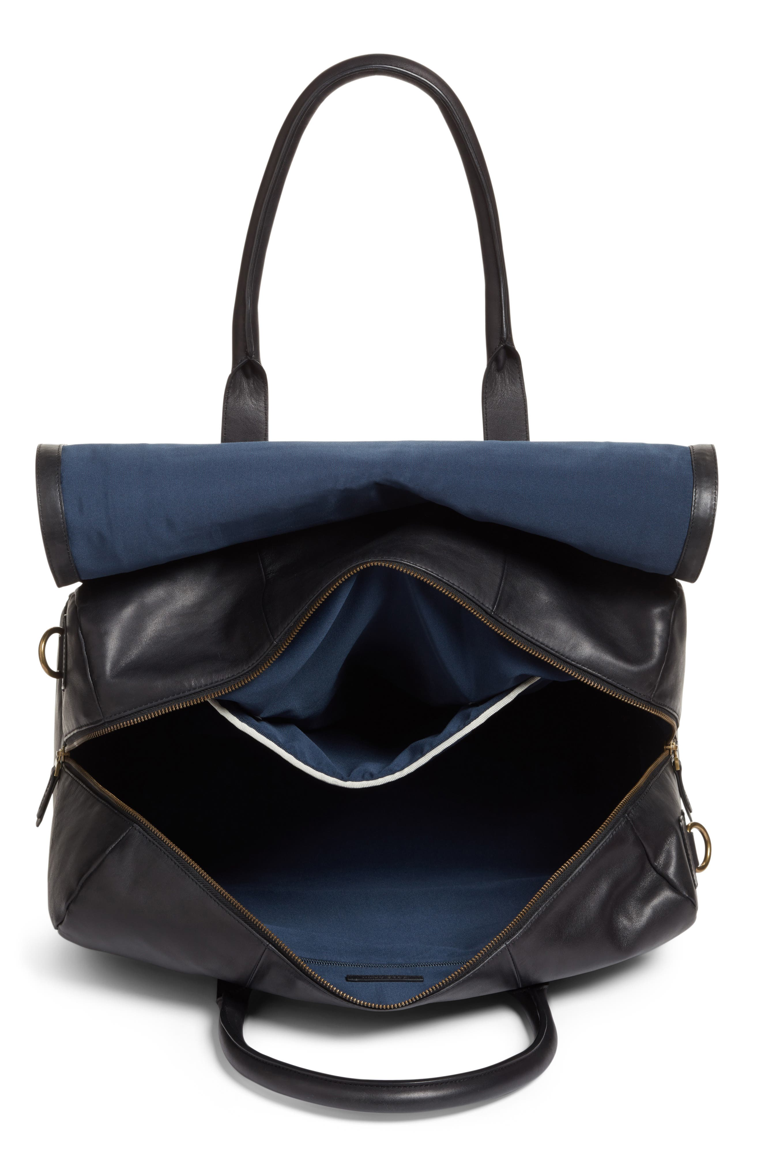 Leather Duffel Bag,                             Alternate thumbnail 7, color,