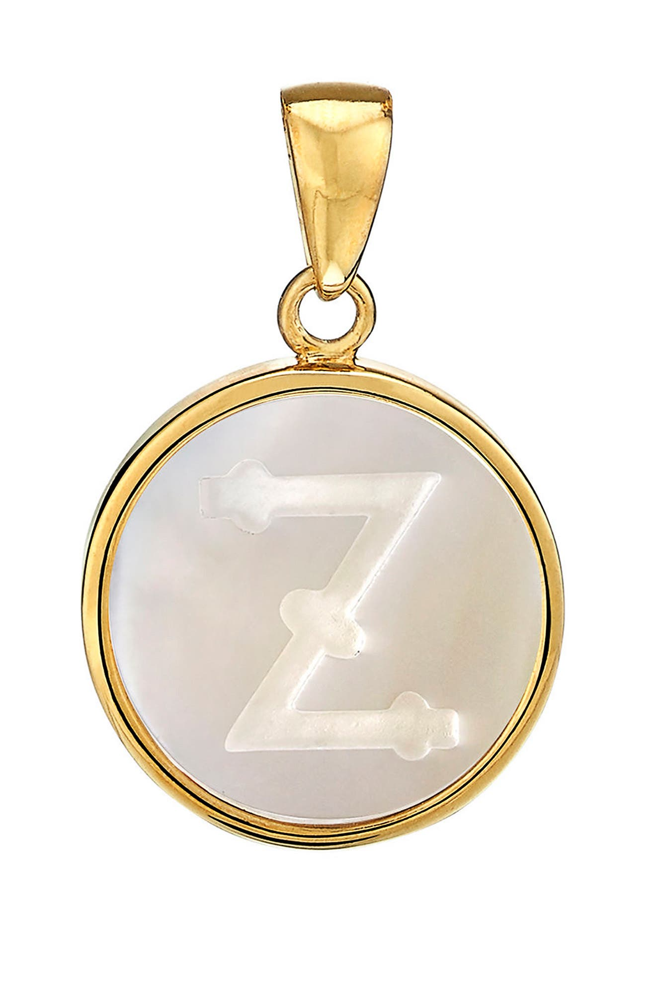 Mother-of-Pearl Initial Charm,                         Main,                         color, GOLD - Z