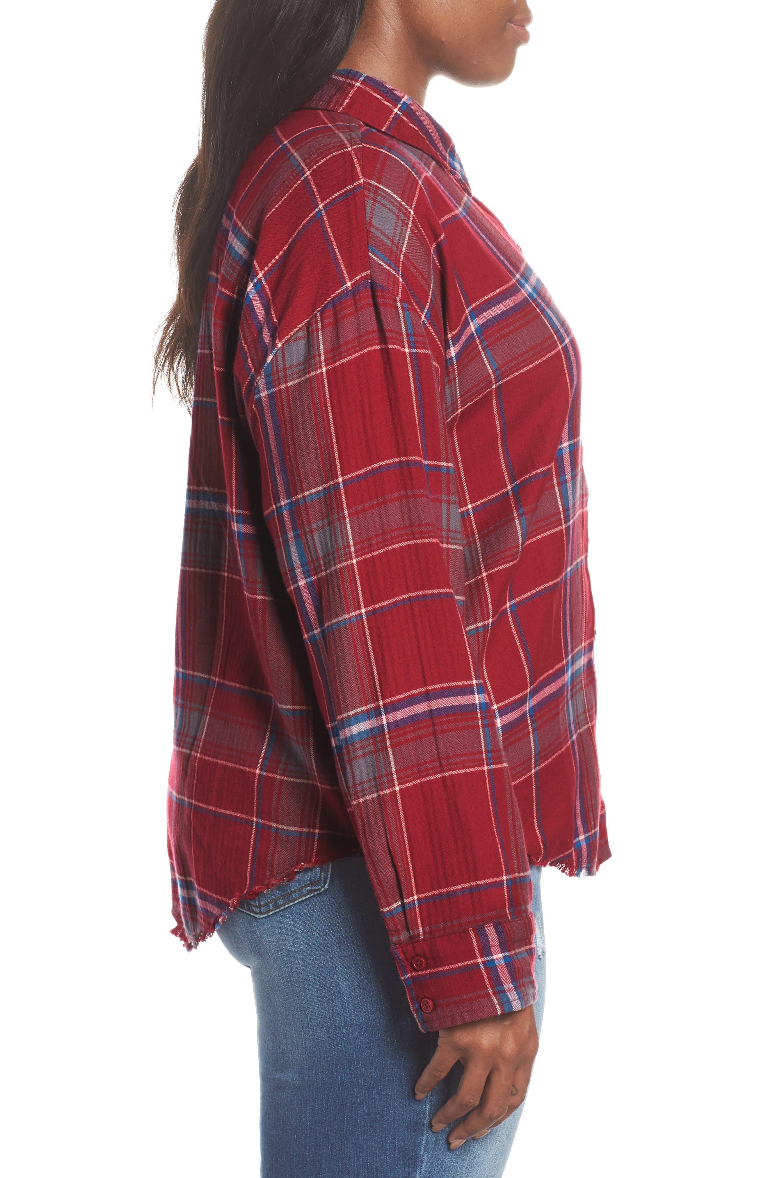Frayed Edge Plaid Shirt,                             Alternate thumbnail 10, color,                             RED RUMBA NICOLE PLAID