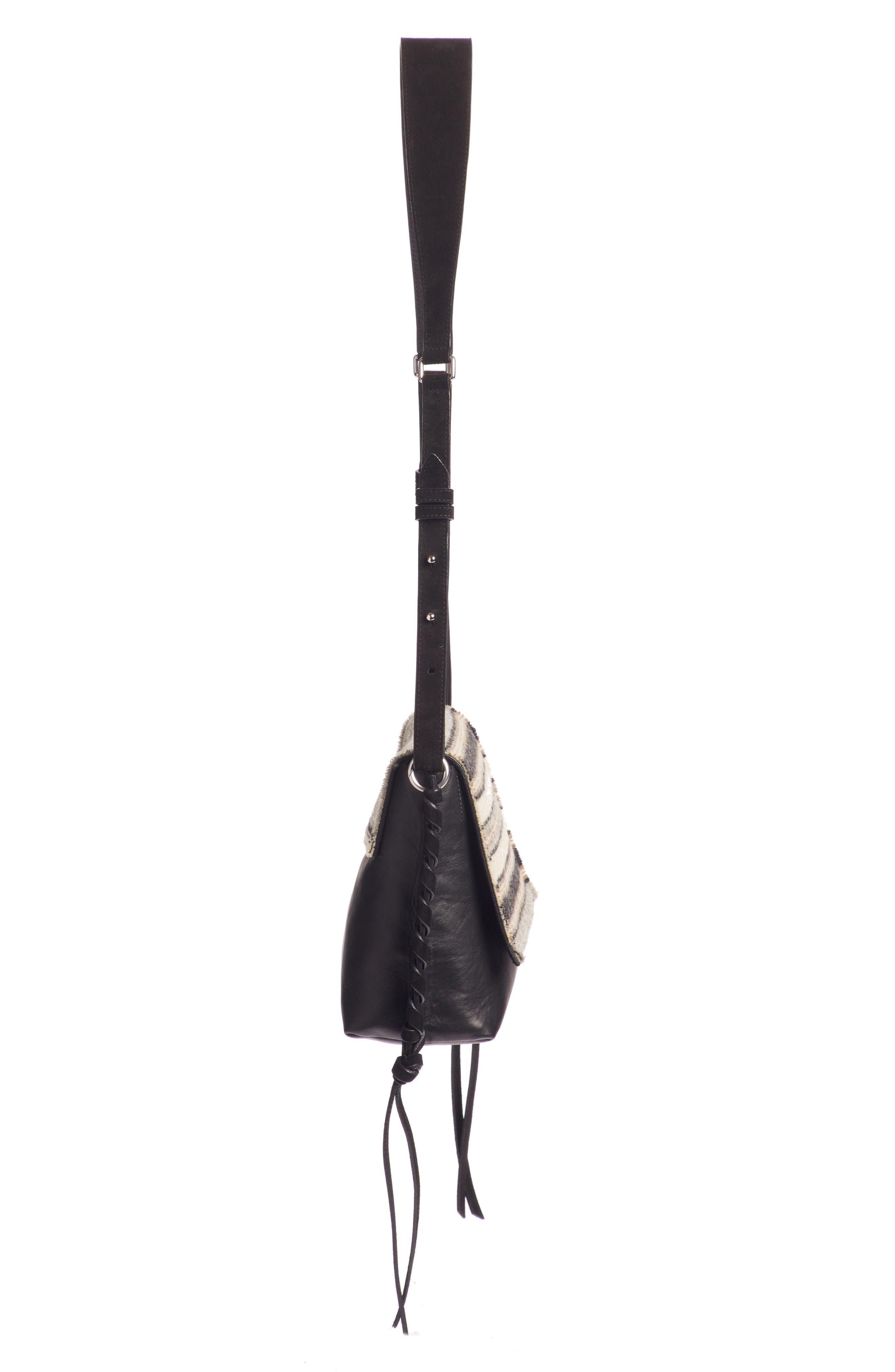 Asli Wool & Leather Shoulder Bag,                             Alternate thumbnail 4, color,                             020