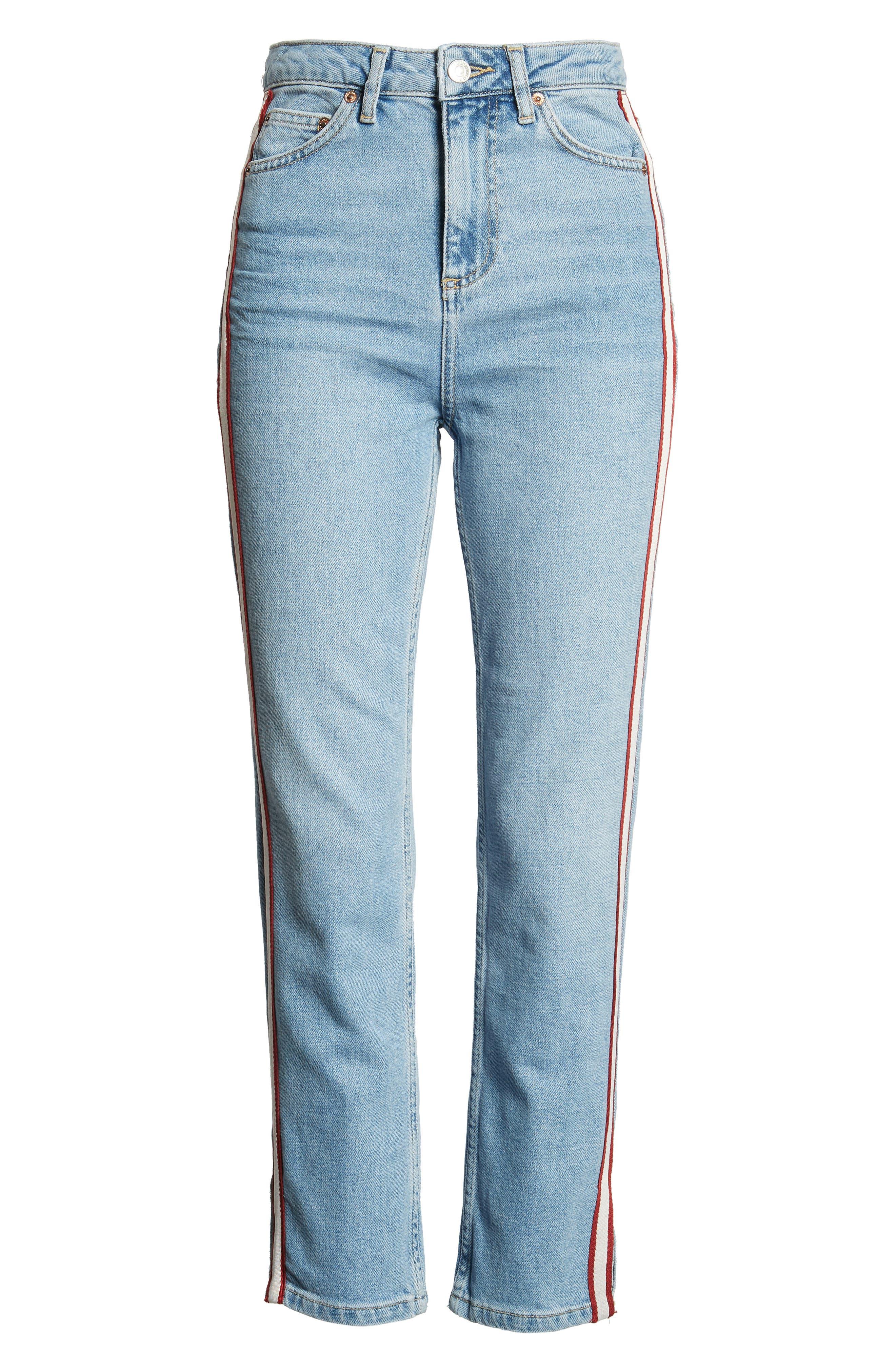 Moto Crop Straight Leg Jeans,                             Alternate thumbnail 7, color,