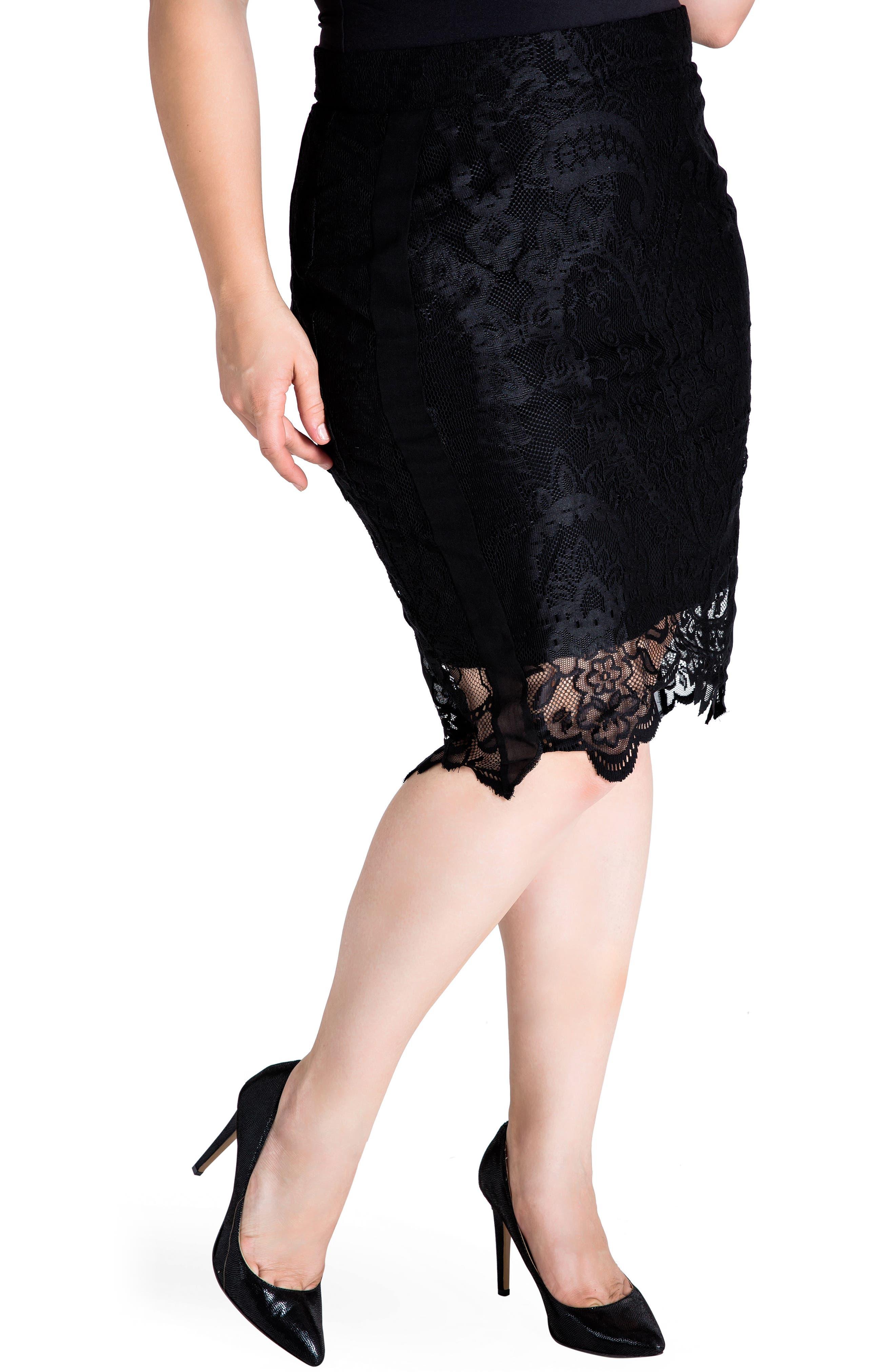 Plus Size Standards & Practices Emily Lace Pencil Skirt, Black