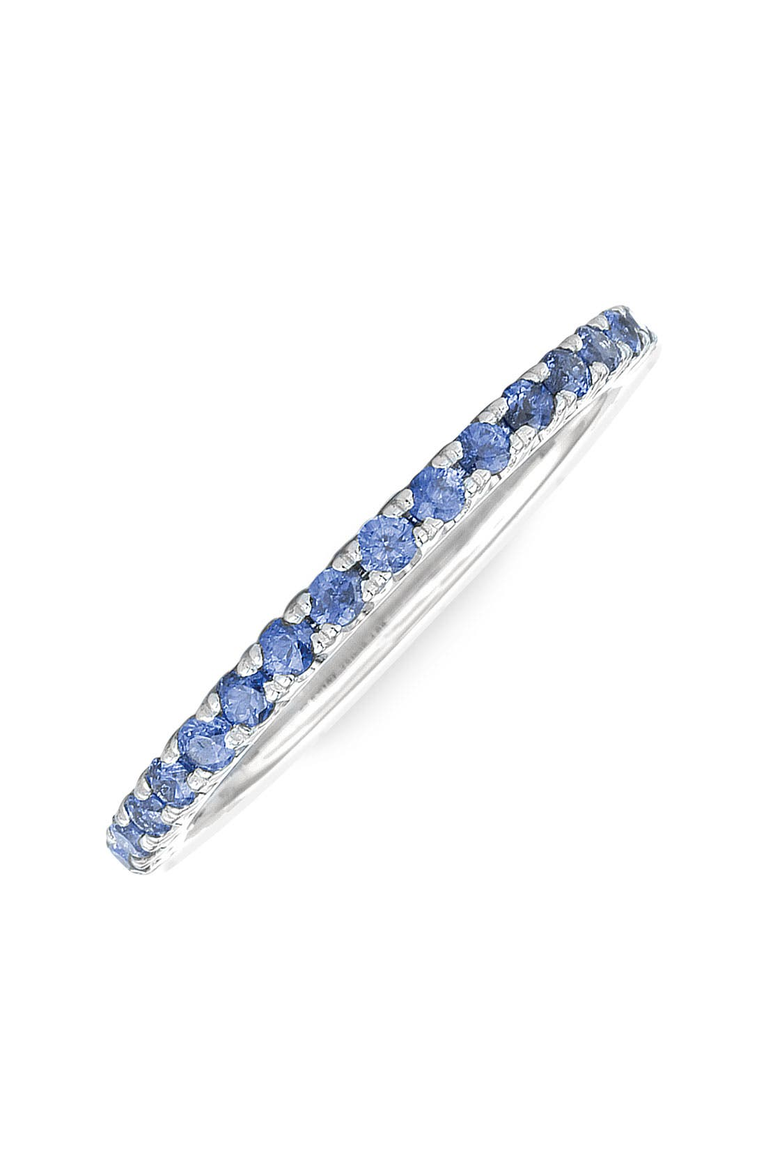 Blue Sapphire Stackable Ring,                         Main,                         color, WHITE GOLD