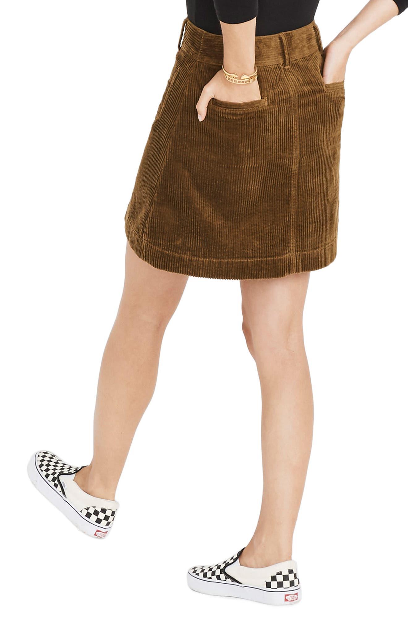 Corduroy A-Line Miniskirt,                             Alternate thumbnail 2, color,                             ASPARAGUS