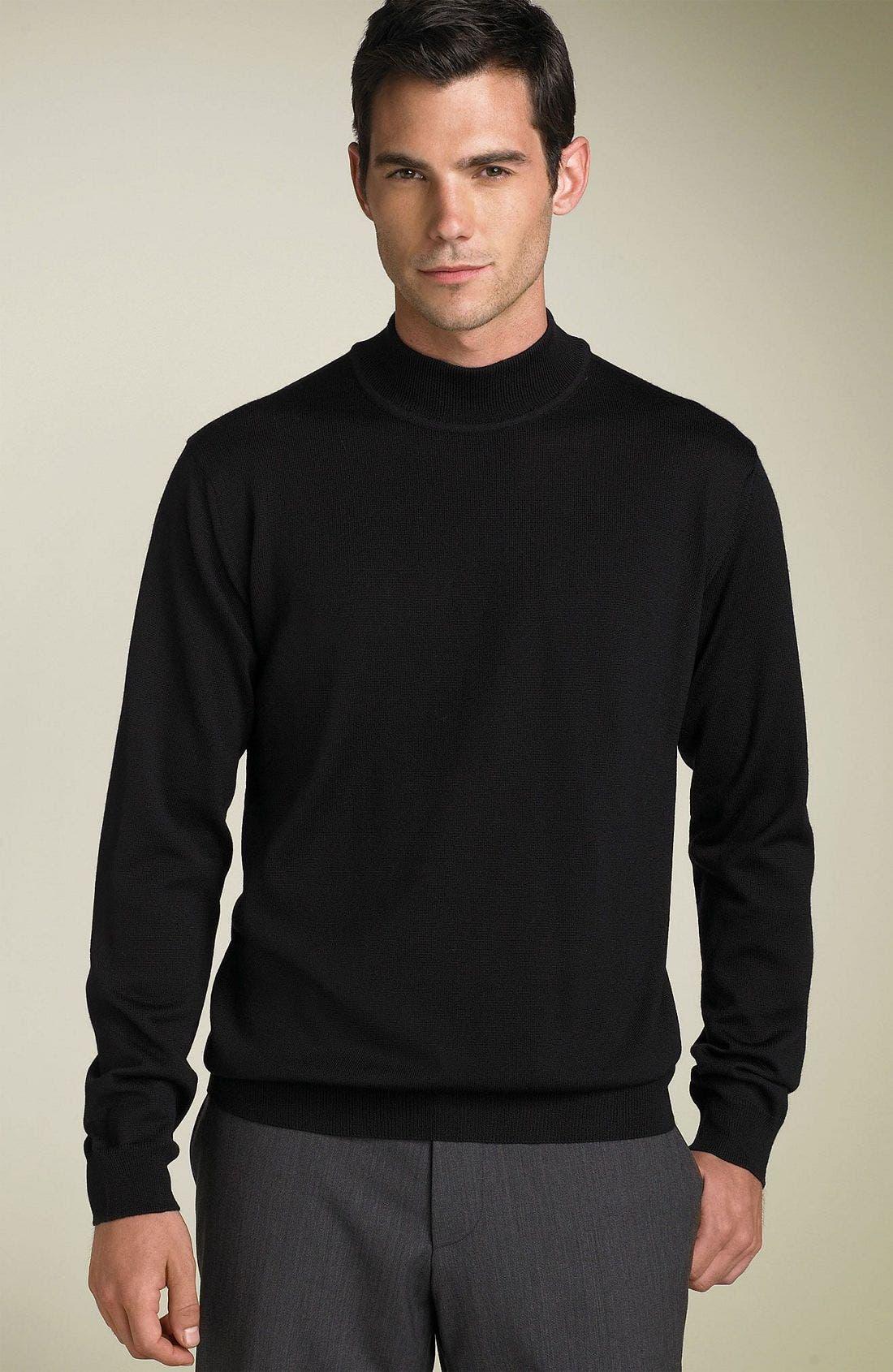 Merino Wool Mock Turtleneck Sweater,                             Main thumbnail 1, color,                             001